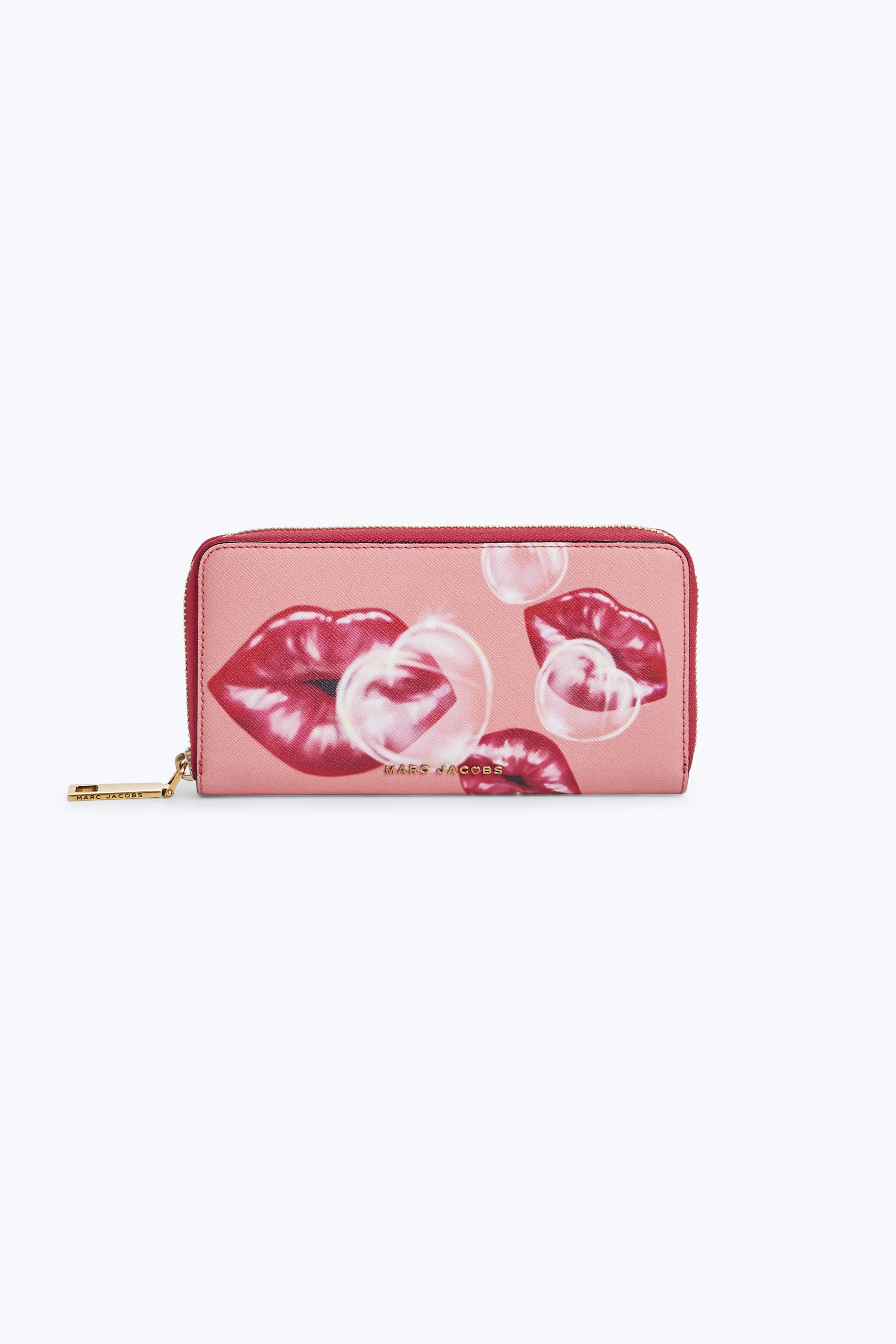 Marc Jacobs Portefeuille Continental Classique Lèvres Rose Thé Cuir Vachette LznqQVBwo