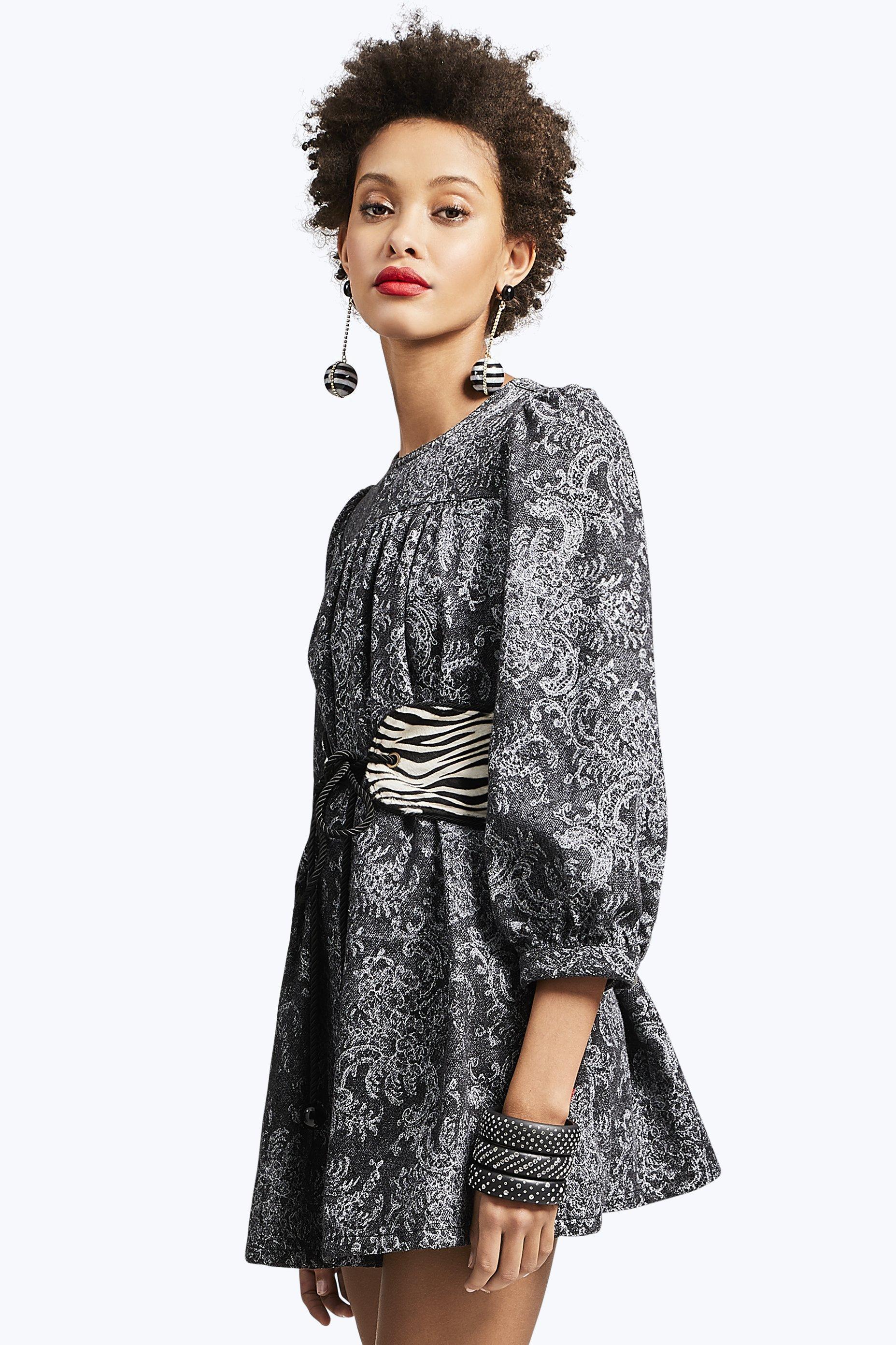 5c756b7b65ed Marc Jacobs Lace Printed Black Denim Babydoll Dress in Black - Lyst
