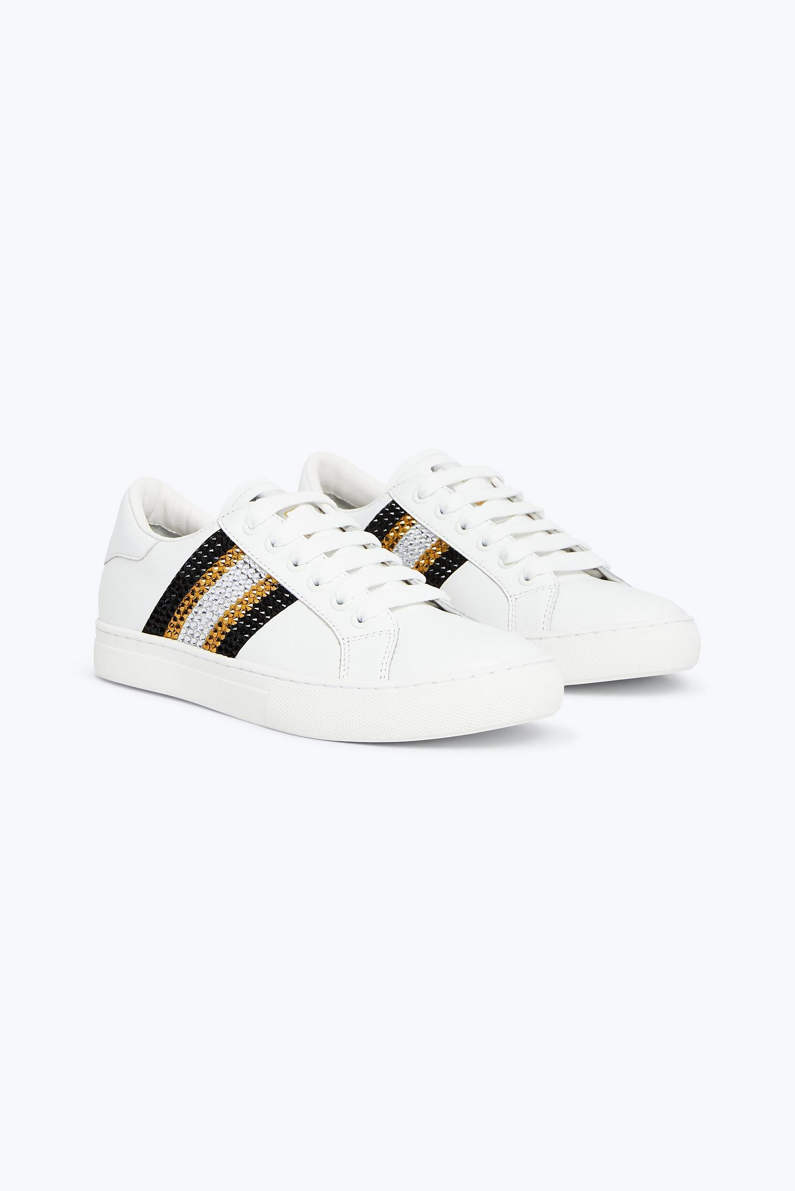 6604db95afec06 Lyst - Marc Jacobs Bedazzled Stripe Empire Sneaker in White