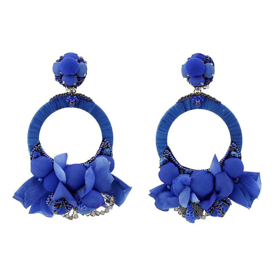 Ranjana Khan Blue Flower Earrings In Blue Lyst