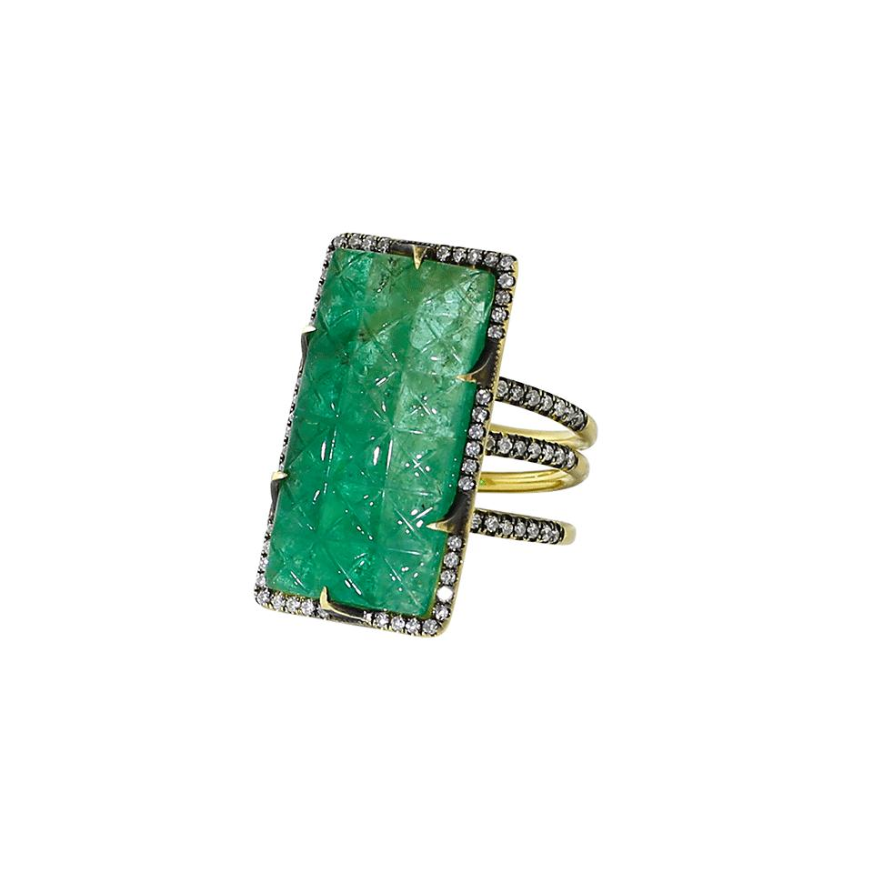 3a1befa27b4 Lyst - Sylva   Cie Carved Emerald Ten Table Ring in Green