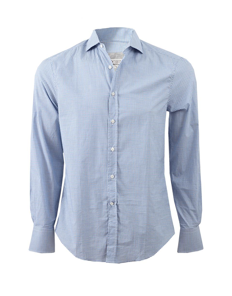 Lyst brunello cucinelli check spread collar shirt in for Men s spread collar shirts