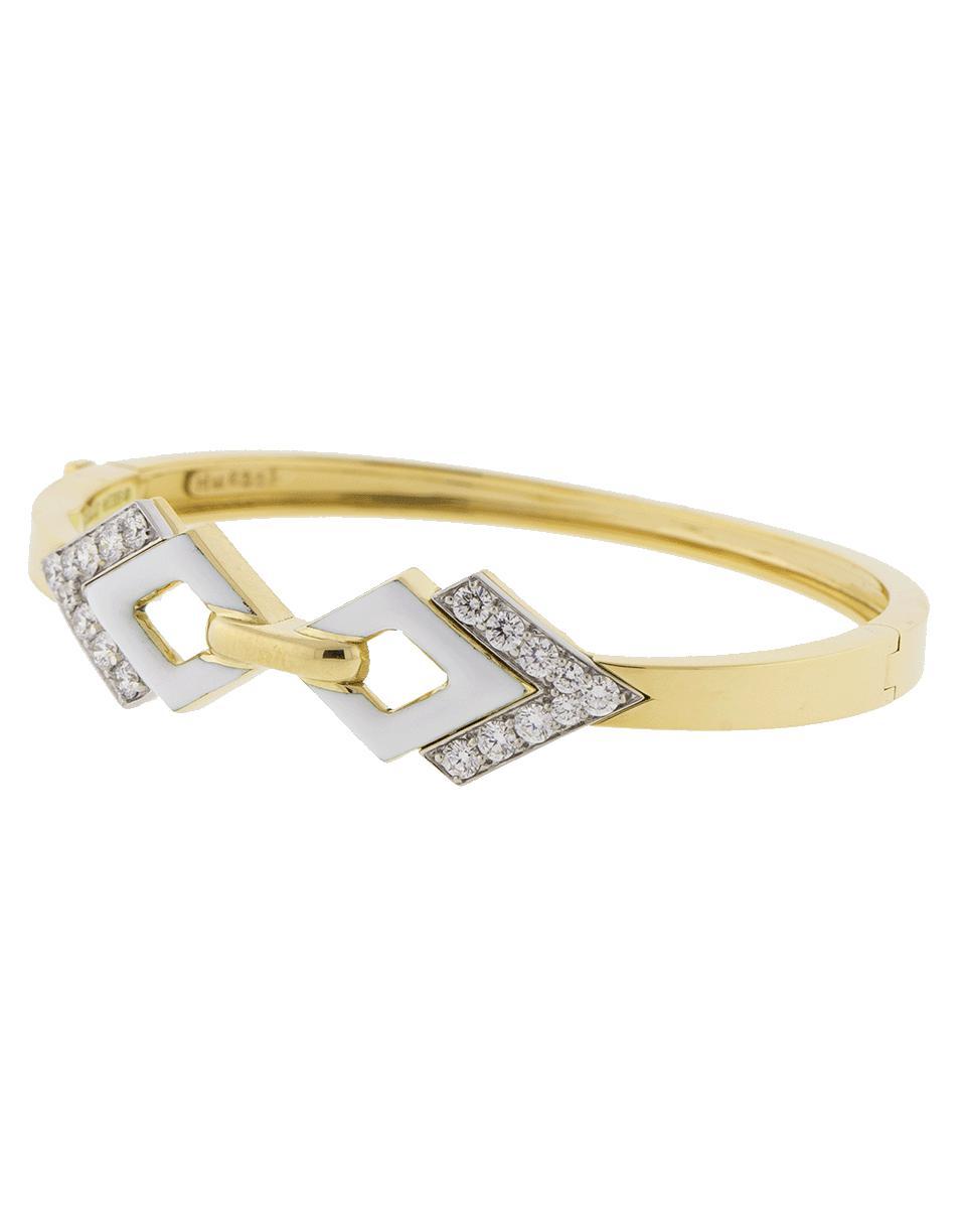 7b9f40a418f Lyst - David Webb Double Diamond And White Enamel Bracelet in Metallic