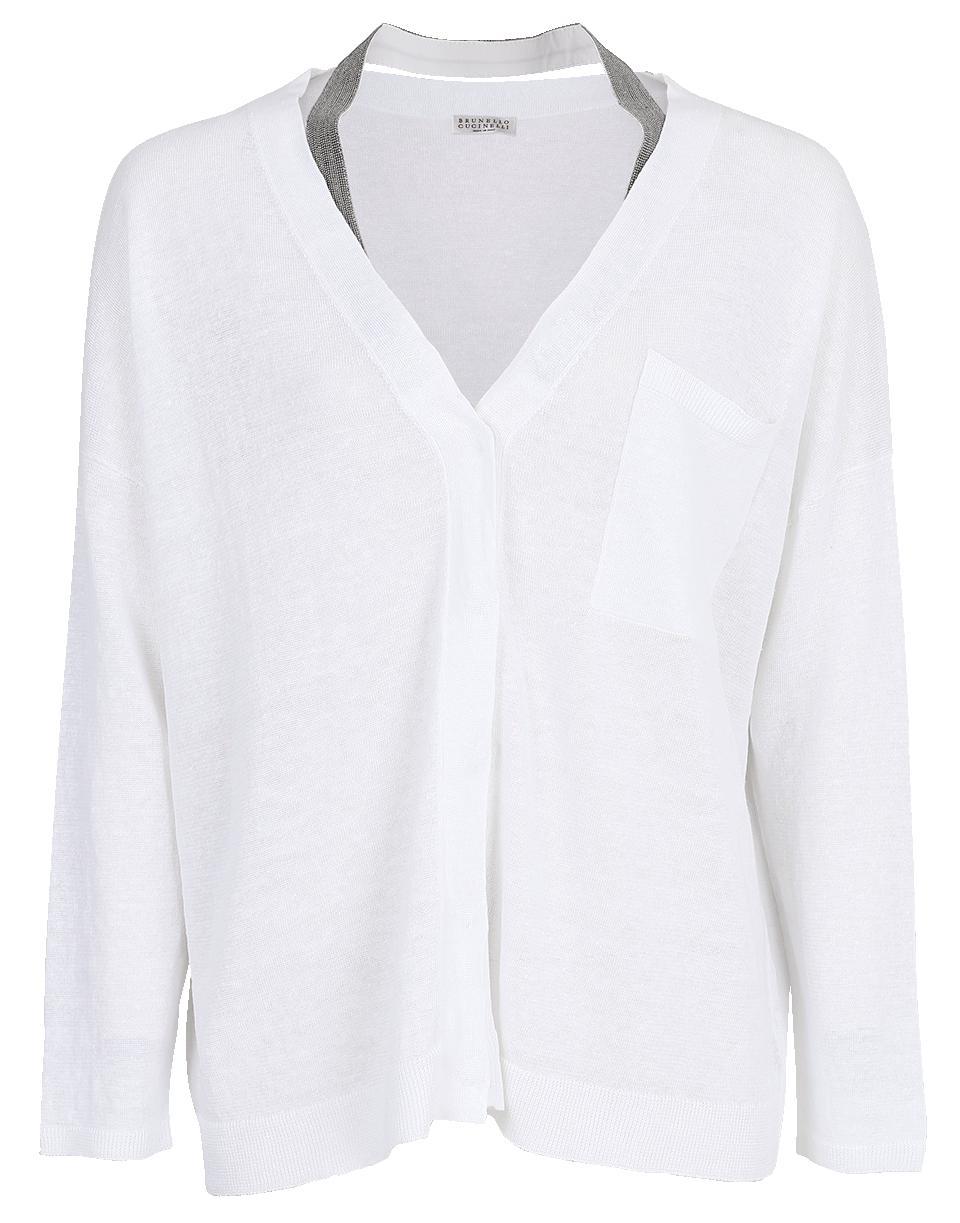 045f248f96 Lyst - Brunello Cucinelli Monili Neck Strap Cardigan in White