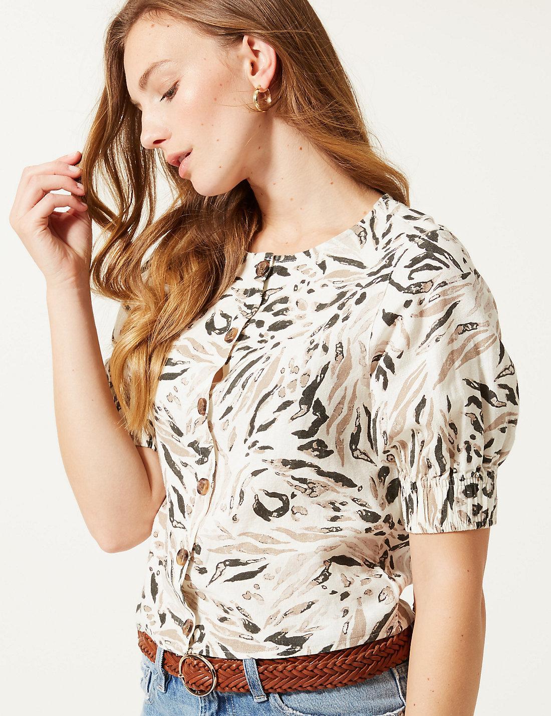d52d15fc5961 Lyst - Marks & Spencer Animal Print Round Neck Short Sleeve Blouse