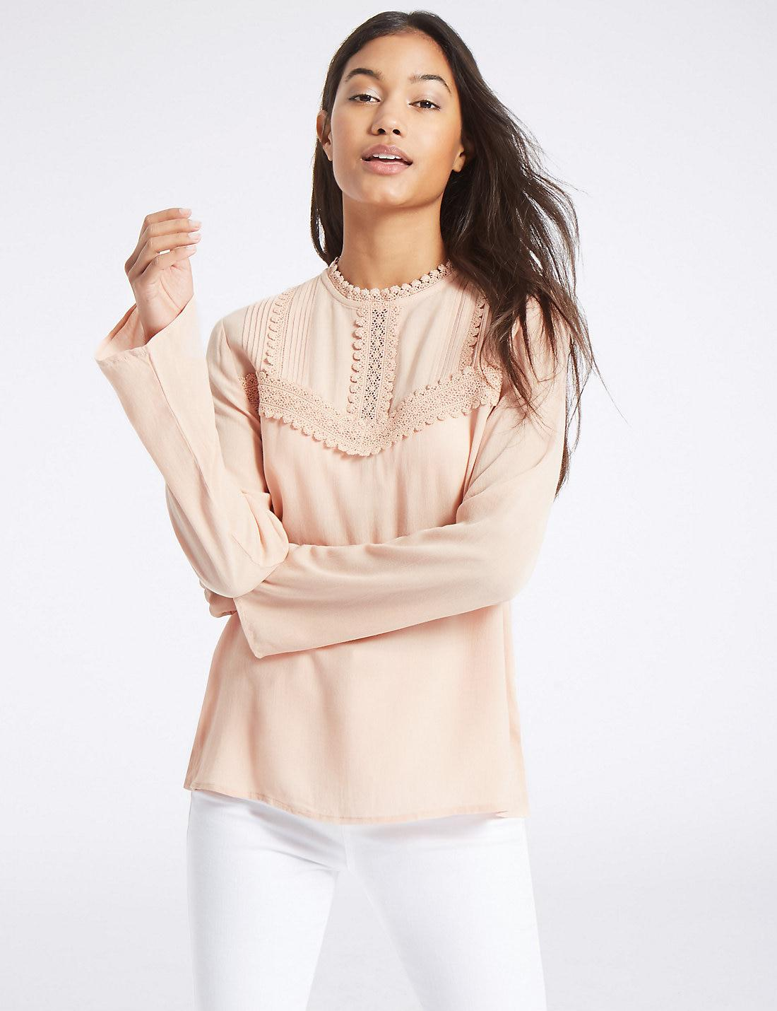 06281fcf410db2 Marks & Spencer Lace Pintuck Round Neck Long Sleeve Blouse - Lyst