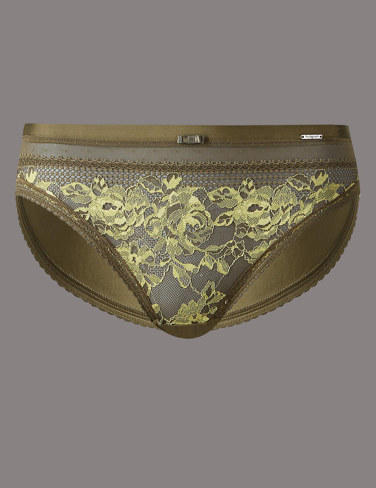 40028c12c3474 Marks   Spencer Lace Embroidered High Leg Knickers in Green - Lyst