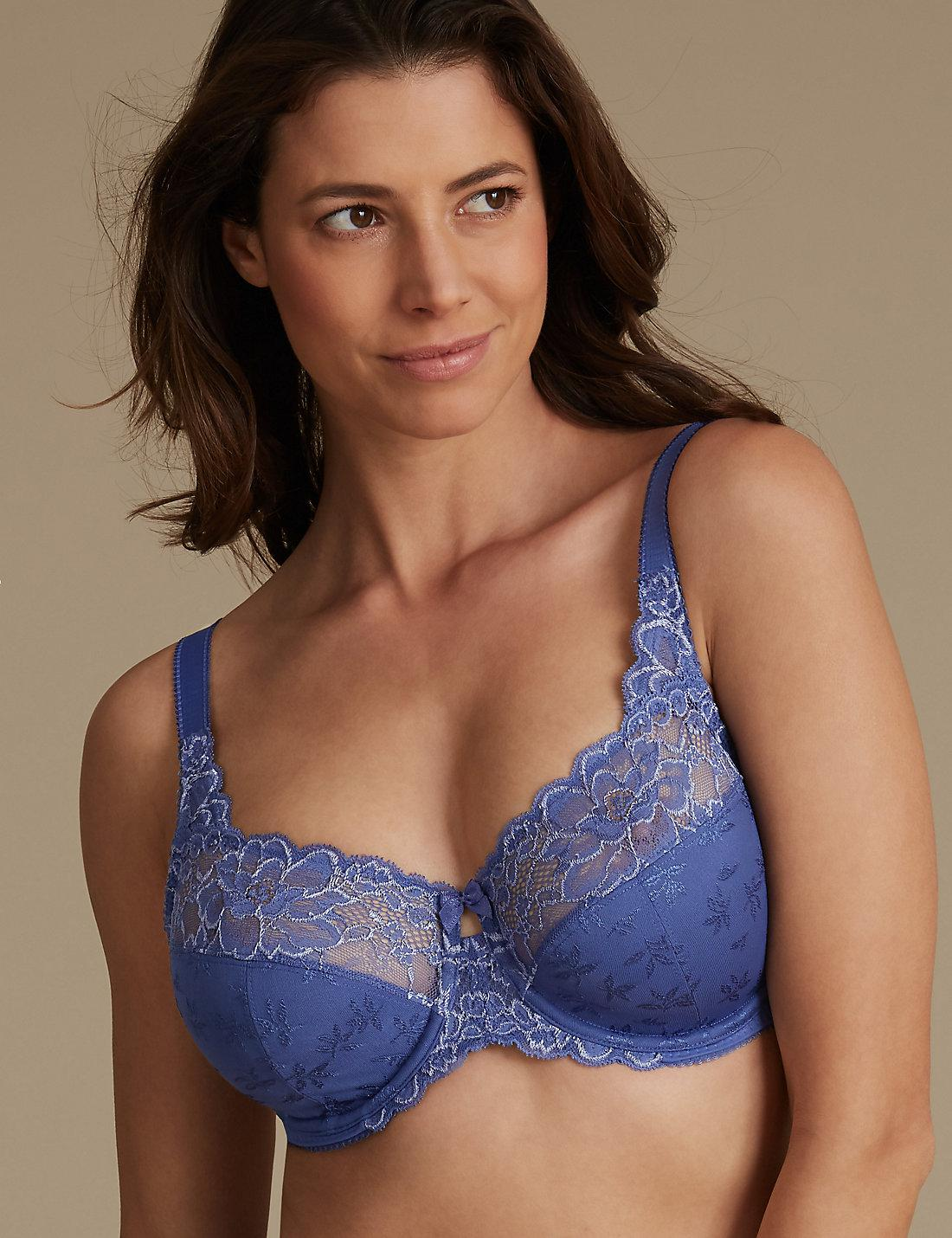 496eee2c66be4 Lyst - Marks   Spencer 2 Tone Jacquard Lace Full Cup Bra Dd-h in Blue