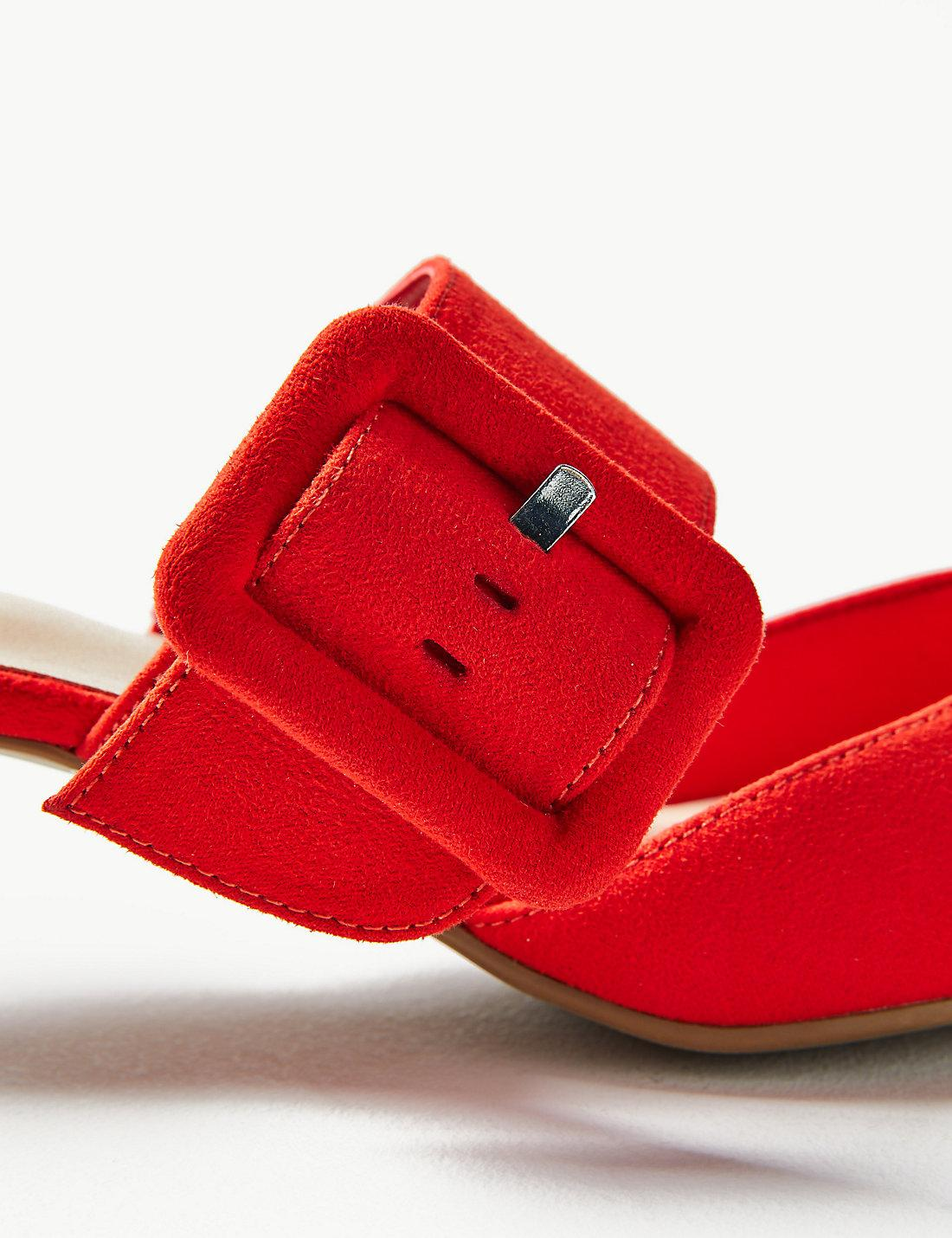 ee502c9fe0a Lyst - Marks   Spencer Extra Wide Fit Kitten Heel Mule Shoes in Red