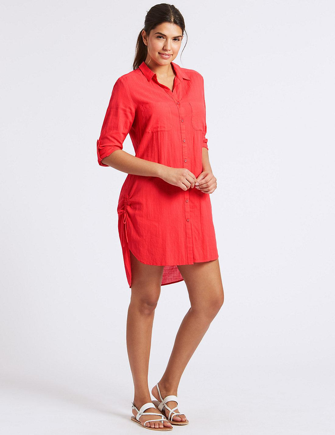 33451e935cf Lyst - Marks   Spencer Pure Cotton 3 4 Sleeve Shirt Dress in Red