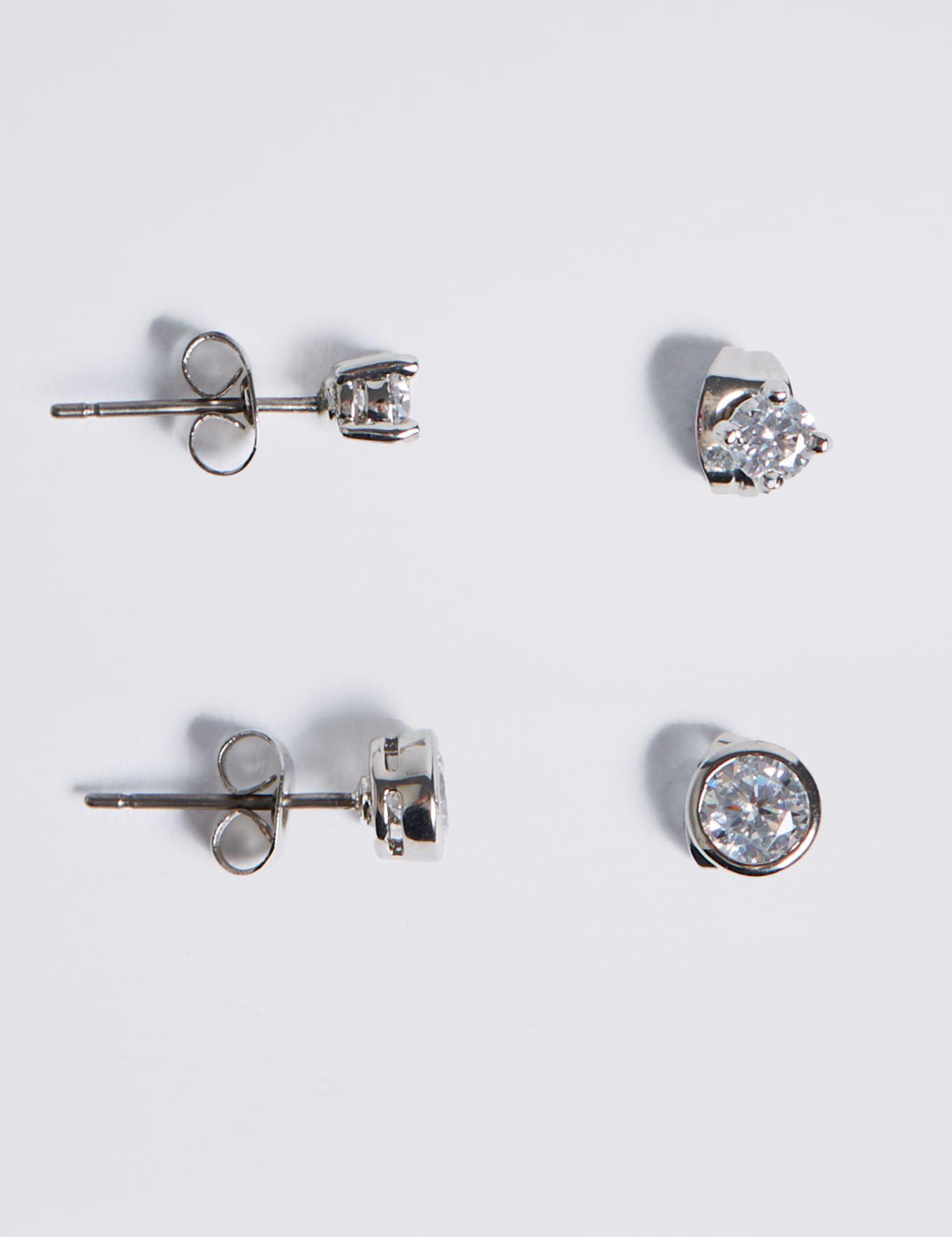 9f004249c Marks & Spencer Platinum Plated Diamanté Stud Earrings Set in ...