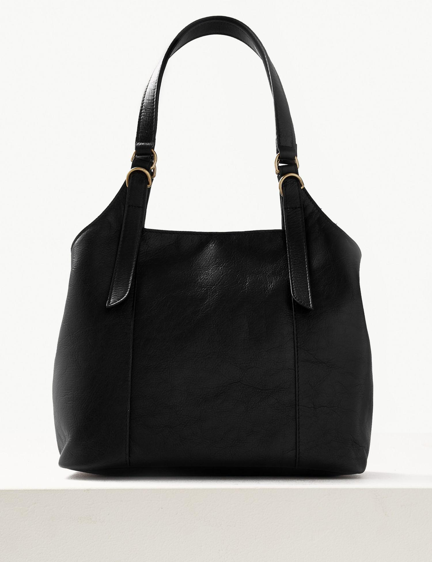 Marks   Spencer Leather 3 Compartment Hobo Bag in Black - Lyst ecf7efb796bf8