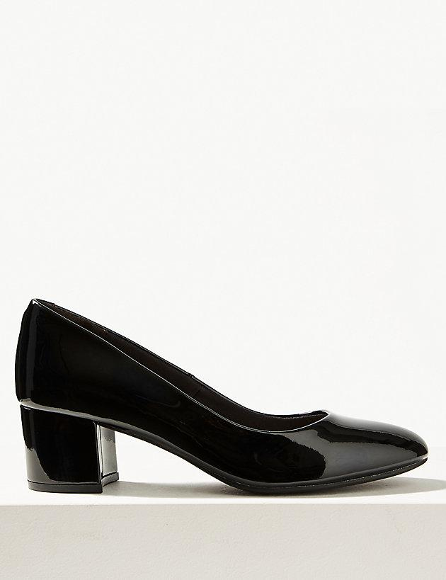 90ba45c6cba Lyst - Marks & Spencer Leather Block Heel Court Shoes in Black