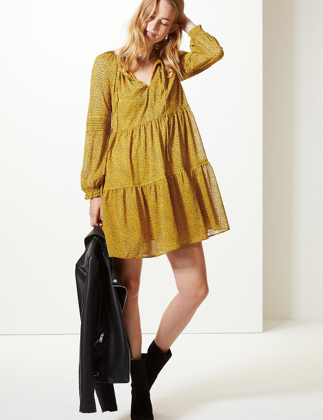 ac63574246 Lyst - Marks & Spencer Spotted Drop Waist Mini Dress in Yellow