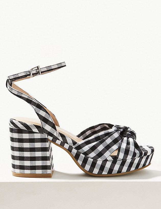9ebf940eb Marks & Spencer. Women's Checked Demi Ankle Strap Sandals
