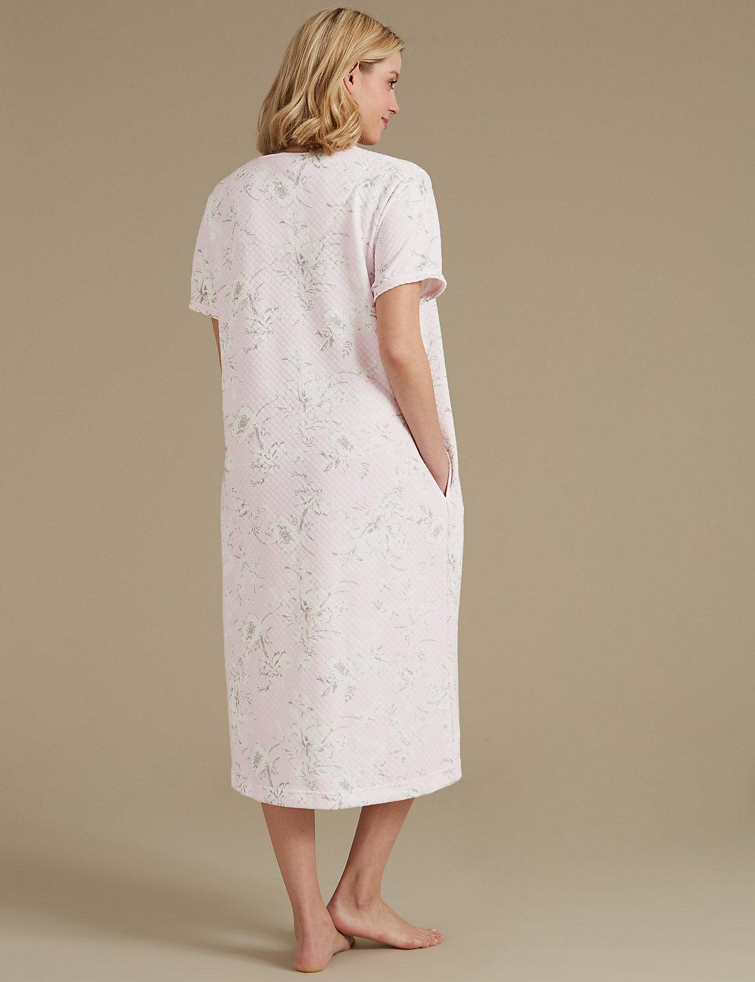 Lyst - Marks & Spencer Floral Print Short Sleeve Dressing Gown in Pink