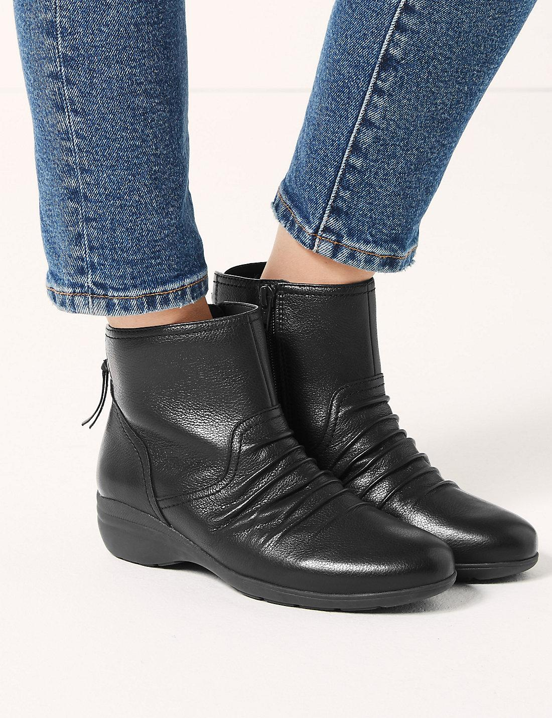 6b70919ea1f8 Lyst - Marks   Spencer Wide Fit Leather Wedge Heel Ankle Boots in Black