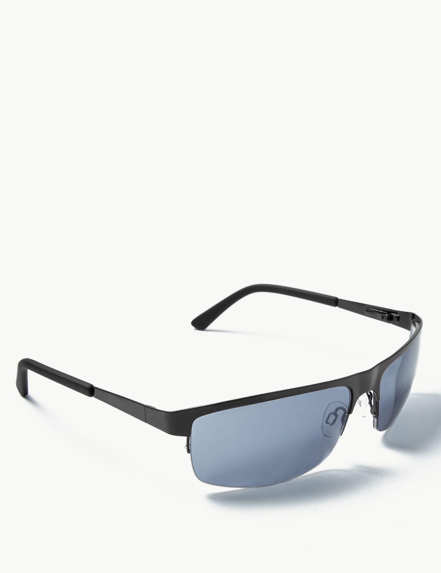388c66139f1 Marks   Spencer Rectangular Semi Rimless Sunglasses in Black for Men - Lyst