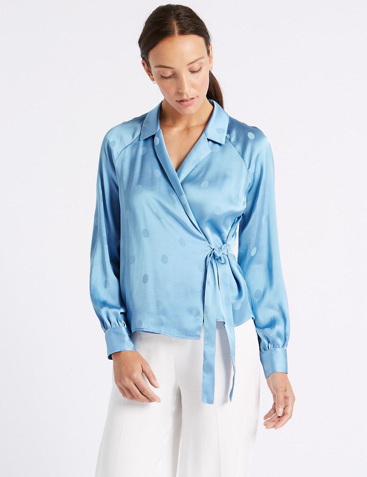 Marks & Spencer Spotted Satin V-Neck Long Sleeve Blouse - - 12 Really Cheap Online Real Sale Online Buy Cheap Cheap Buy Online Authentic Buy Cheap 100% Original vKO2TVf