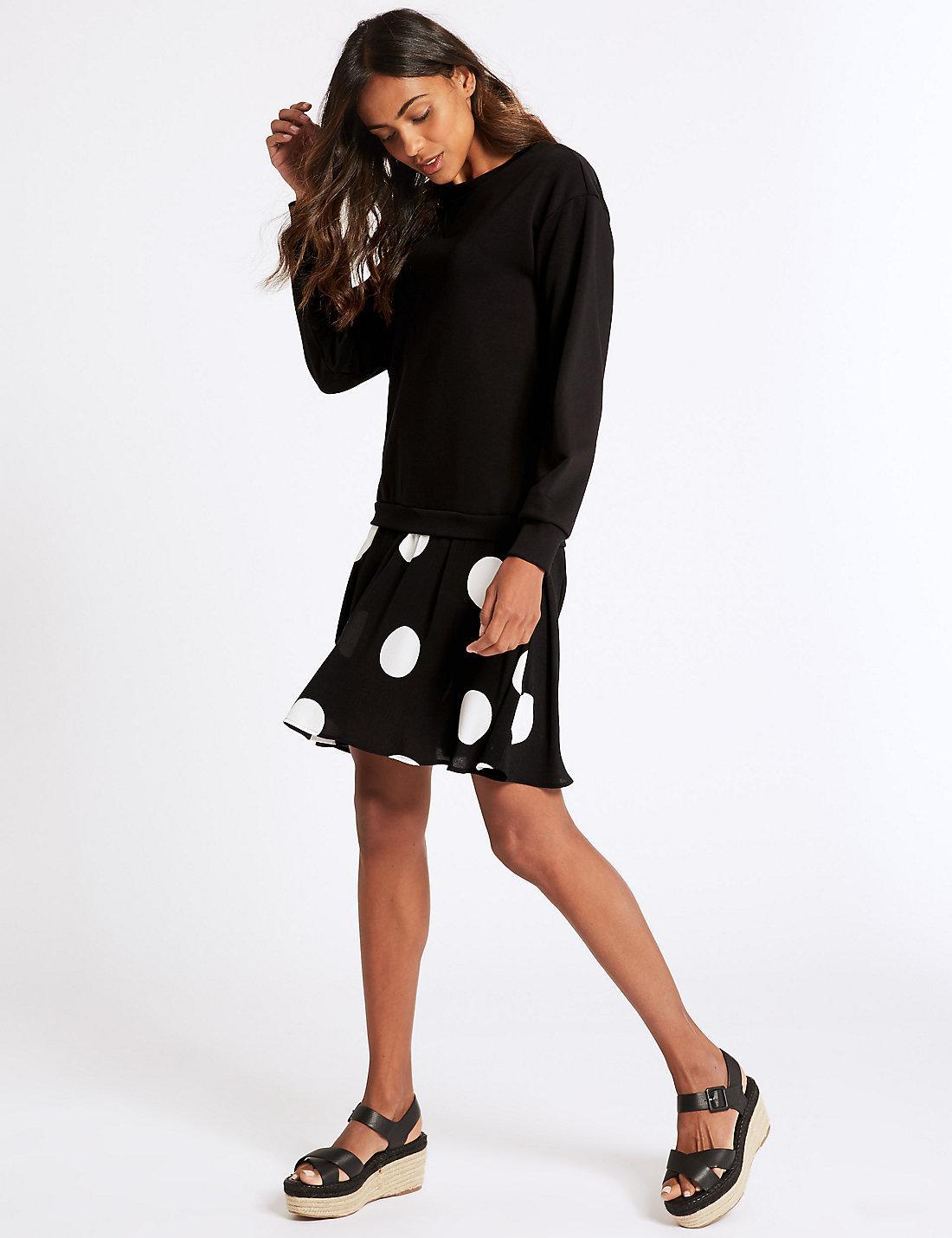 0fd845a031 Lyst - Marks & Spencer Cotton Rich Printed Drop Waist Dress in Black