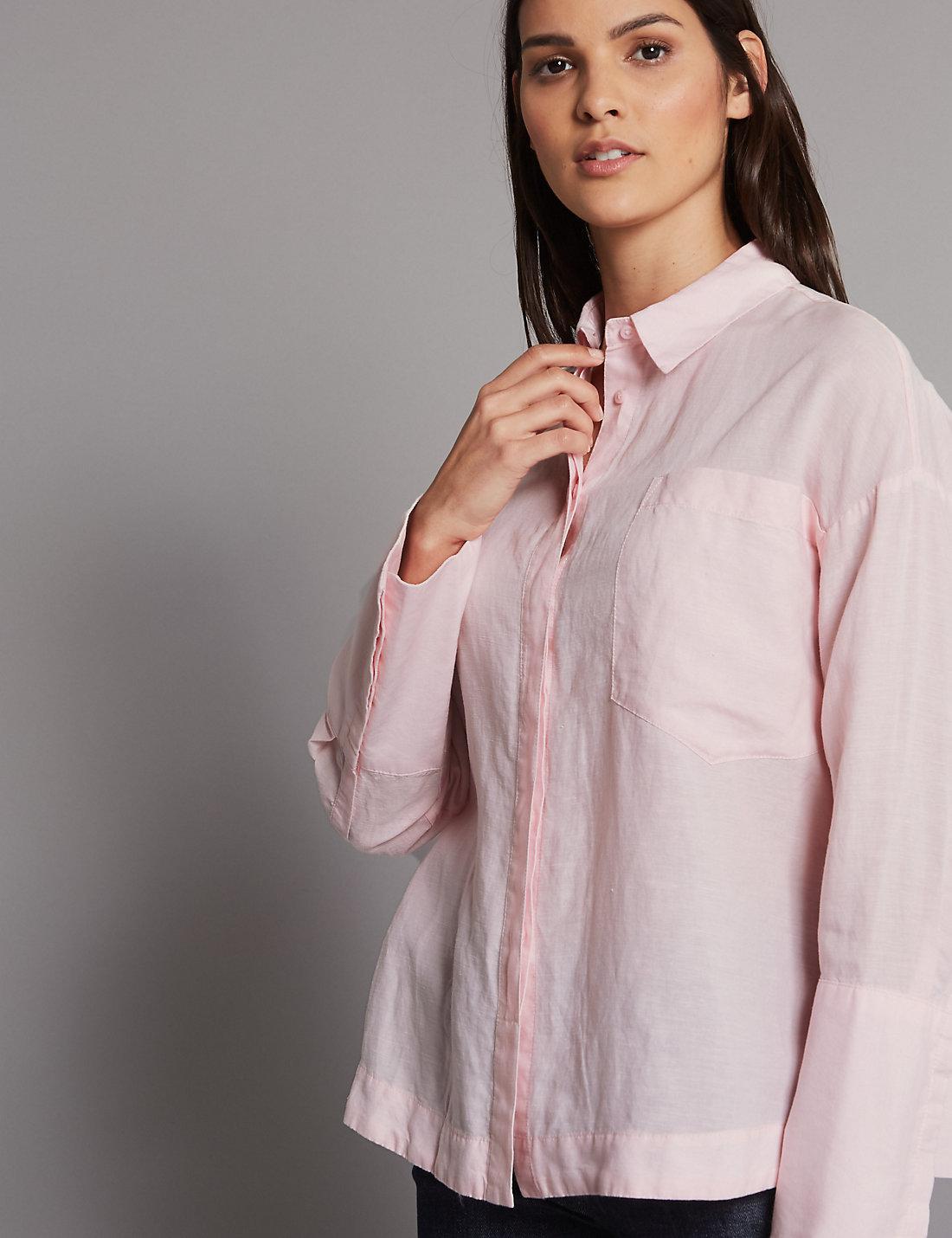 eadd2cd697072f Marks & Spencer Linen Rich Long Sleeve Shirt in Pink - Lyst