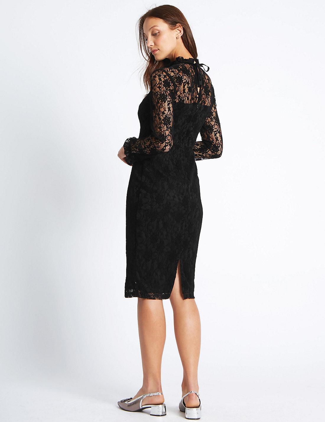 f8a5b71f77c Floral Lace Long Sleeve Bodycon Midi Dress - Data Dynamic AG