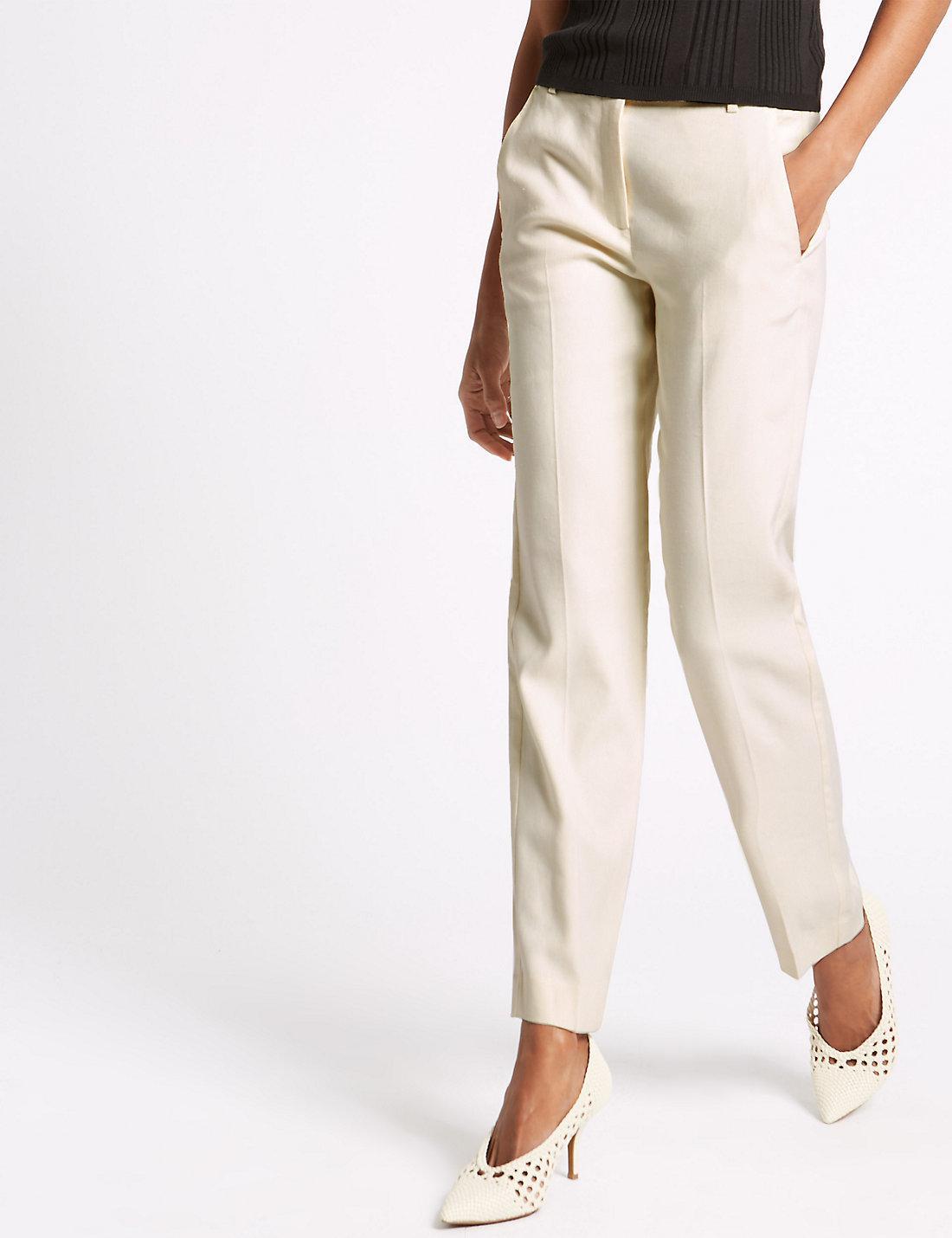 91ab2c59424 Marks   Spencer Linen Blend Straight Leg Trousers in Natural - Lyst