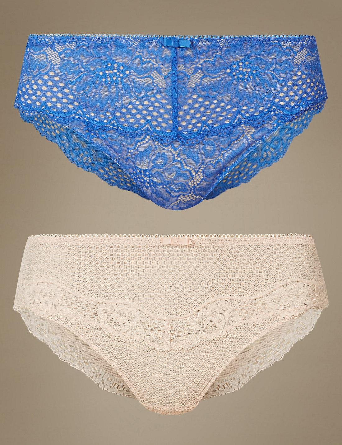 2d8113b13467 Lyst - Marks & Spencer 2 Pack Textured & Lace High Leg Knickers in Blue