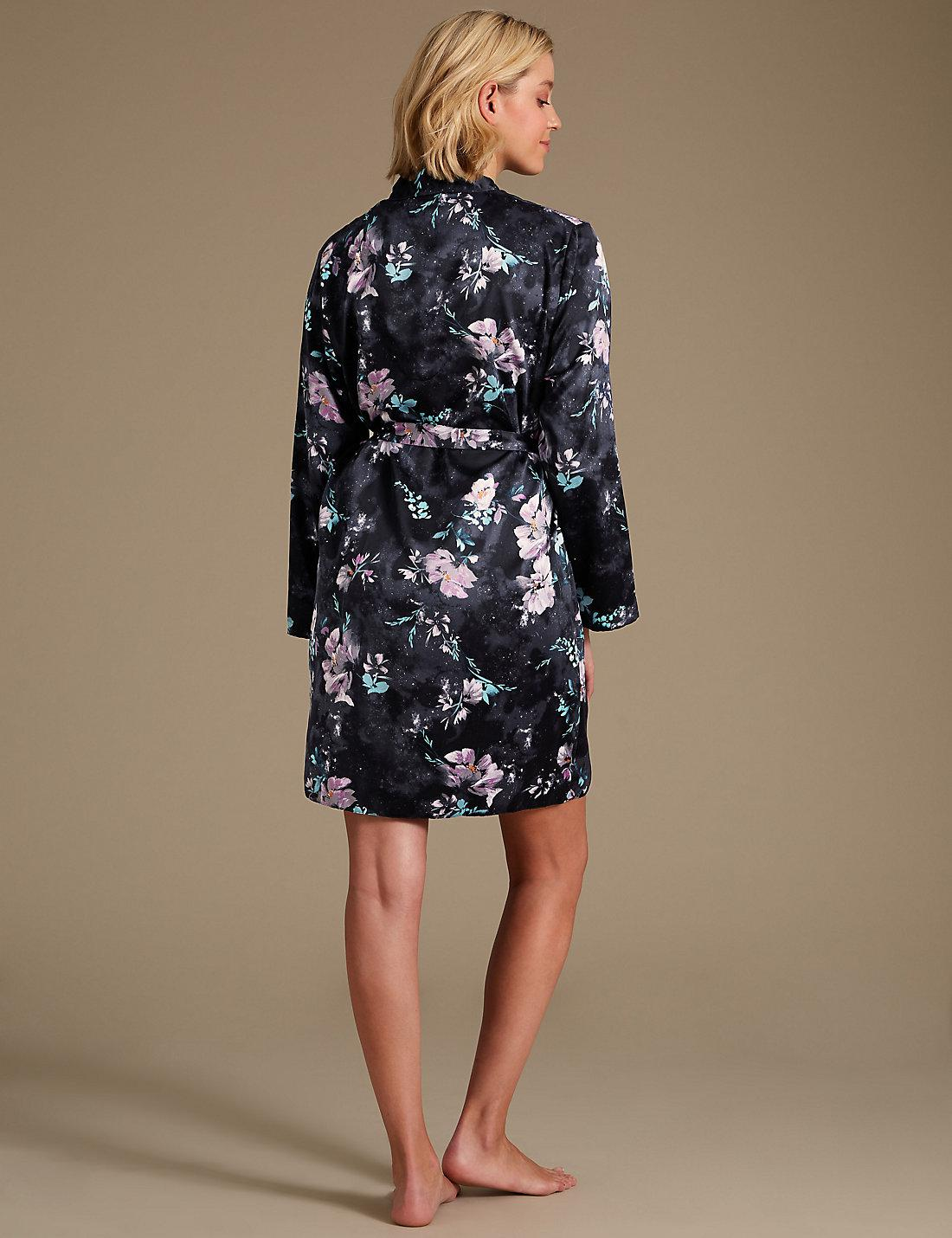 Lyst - Marks   Spencer Satin Floral Print Wrap Dressing Gown in Black 612a3b657247