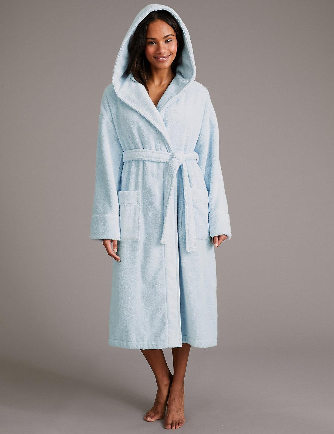 Lyst - Marks   Spencer Pure Cotton Towelling Dressing Gown in Blue ef6601026