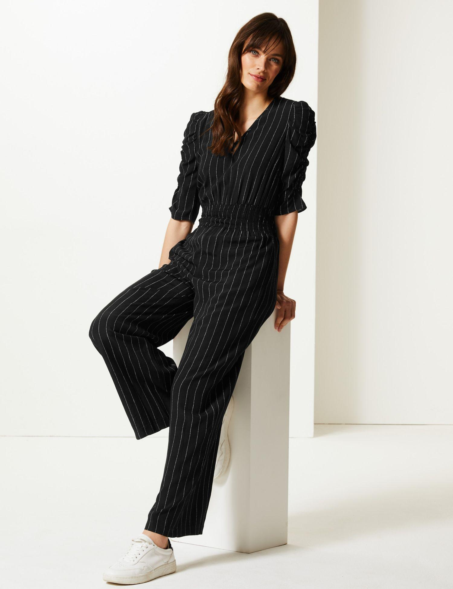 379eb95943 Marks   Spencer Striped Short Sleeve Jumpsuit in Black - Lyst