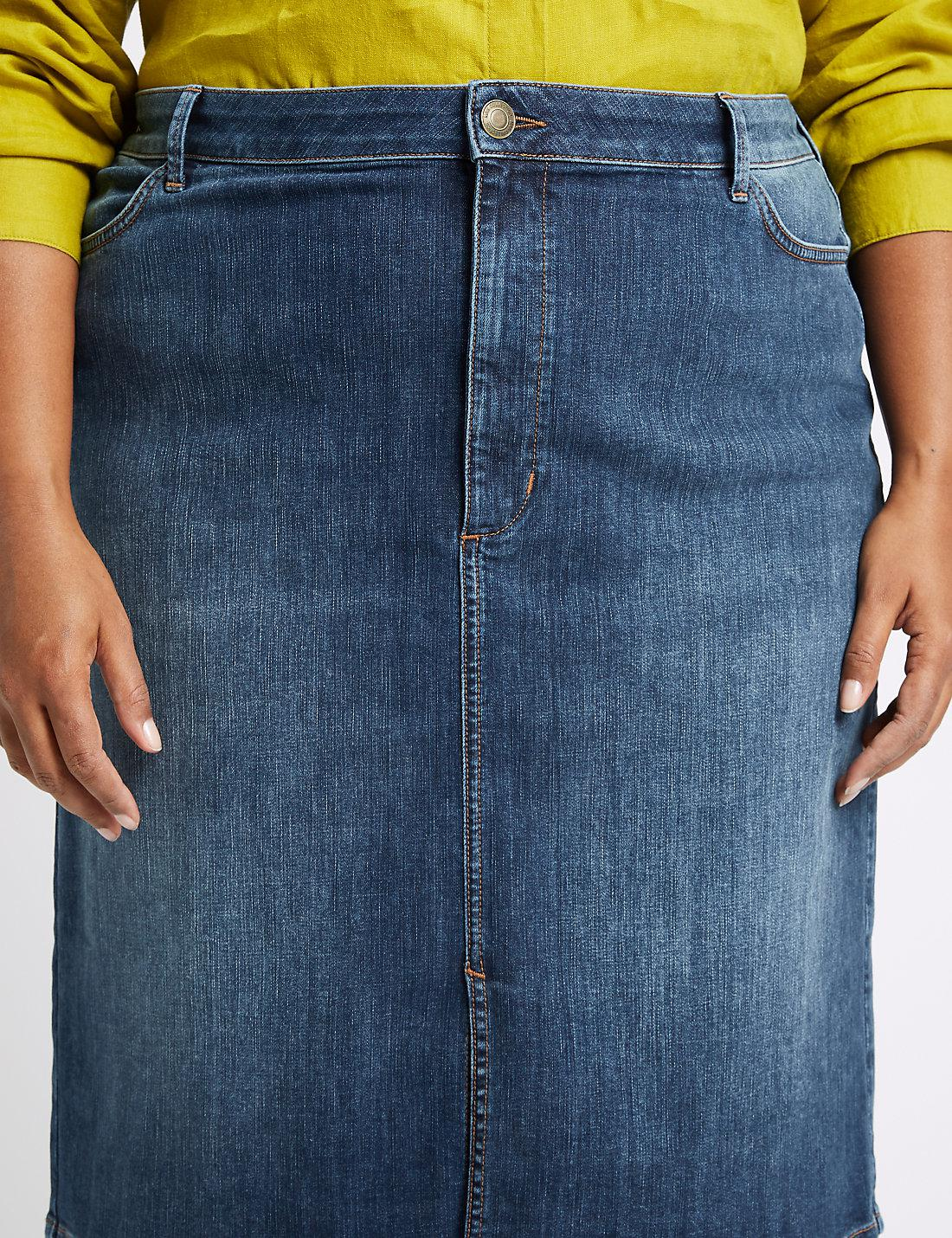 35341750a5 Lyst - Marks & Spencer Curve Cotton Rich Stretch Denim Skirt in Blue