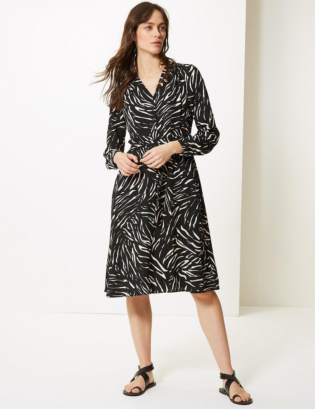 f429e5cba8 Lyst - Marks & Spencer Animal Print Long Sleeve Shirt Midi Dress in ...