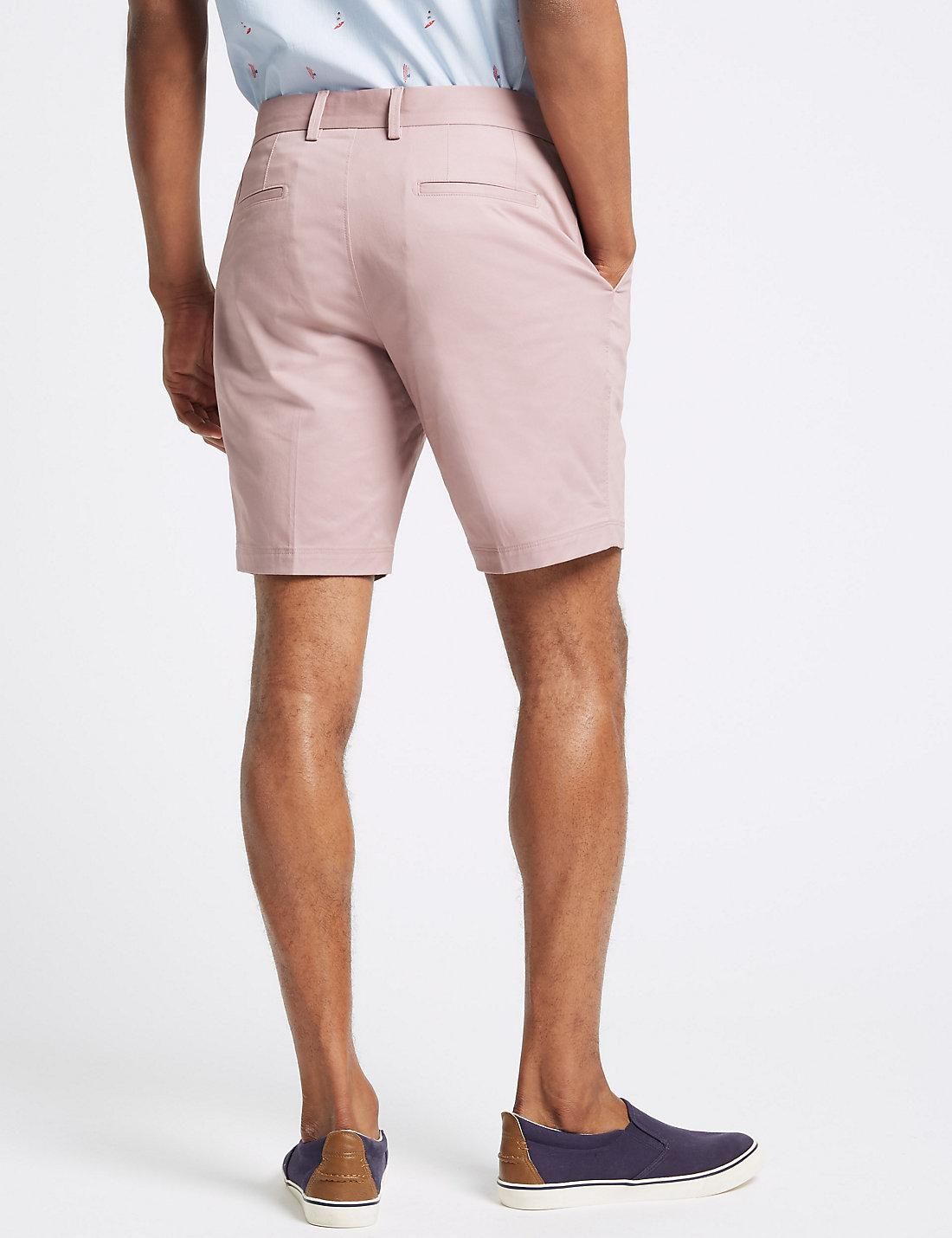 3deba7dd91a Lyst - Marks   Spencer Cotton Rich Chino Shorts With Stretch in Pink ...