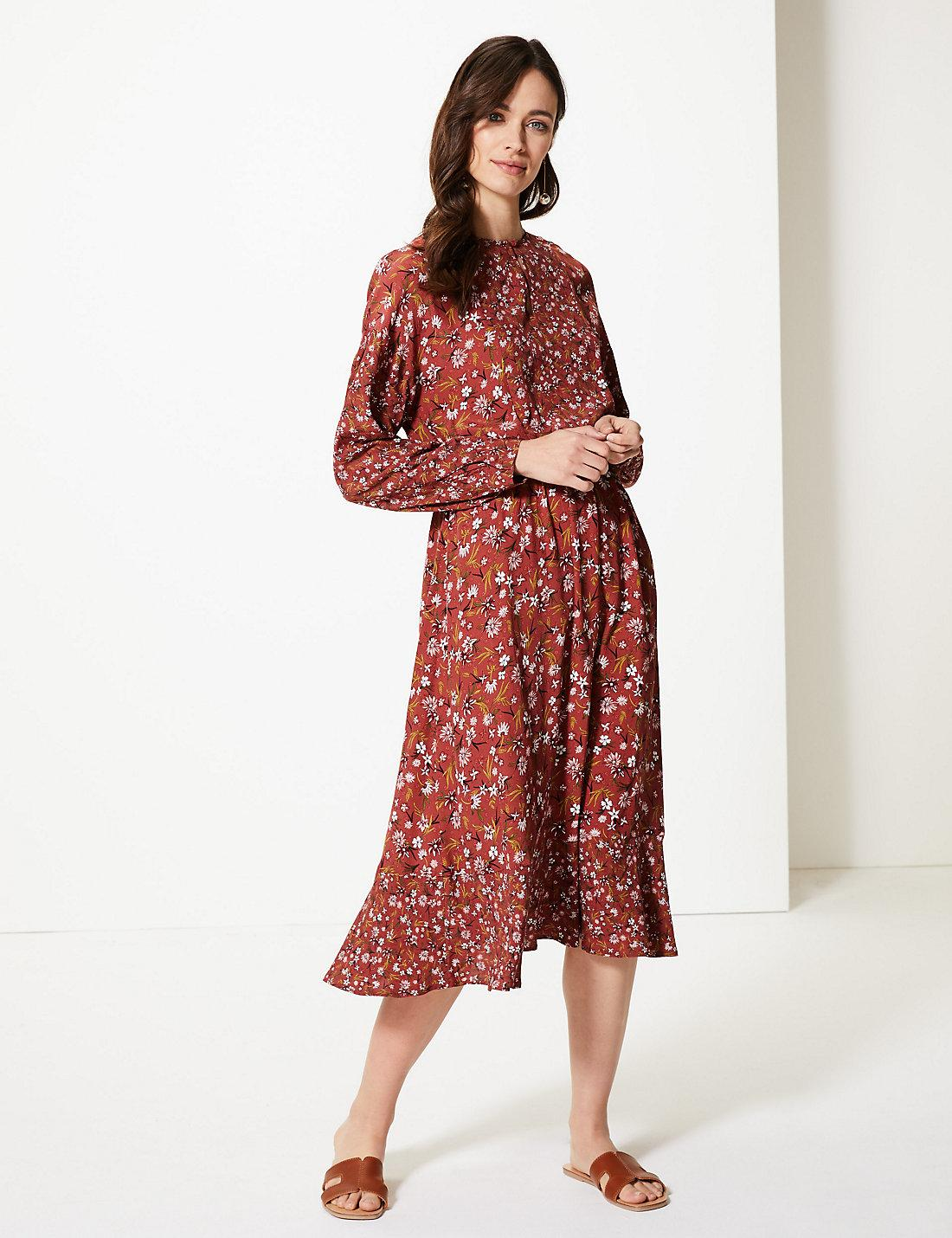 a9bc711c413f6 Lyst - Marks   Spencer Floral Print Long Sleeve Waisted Midi Dress in Red