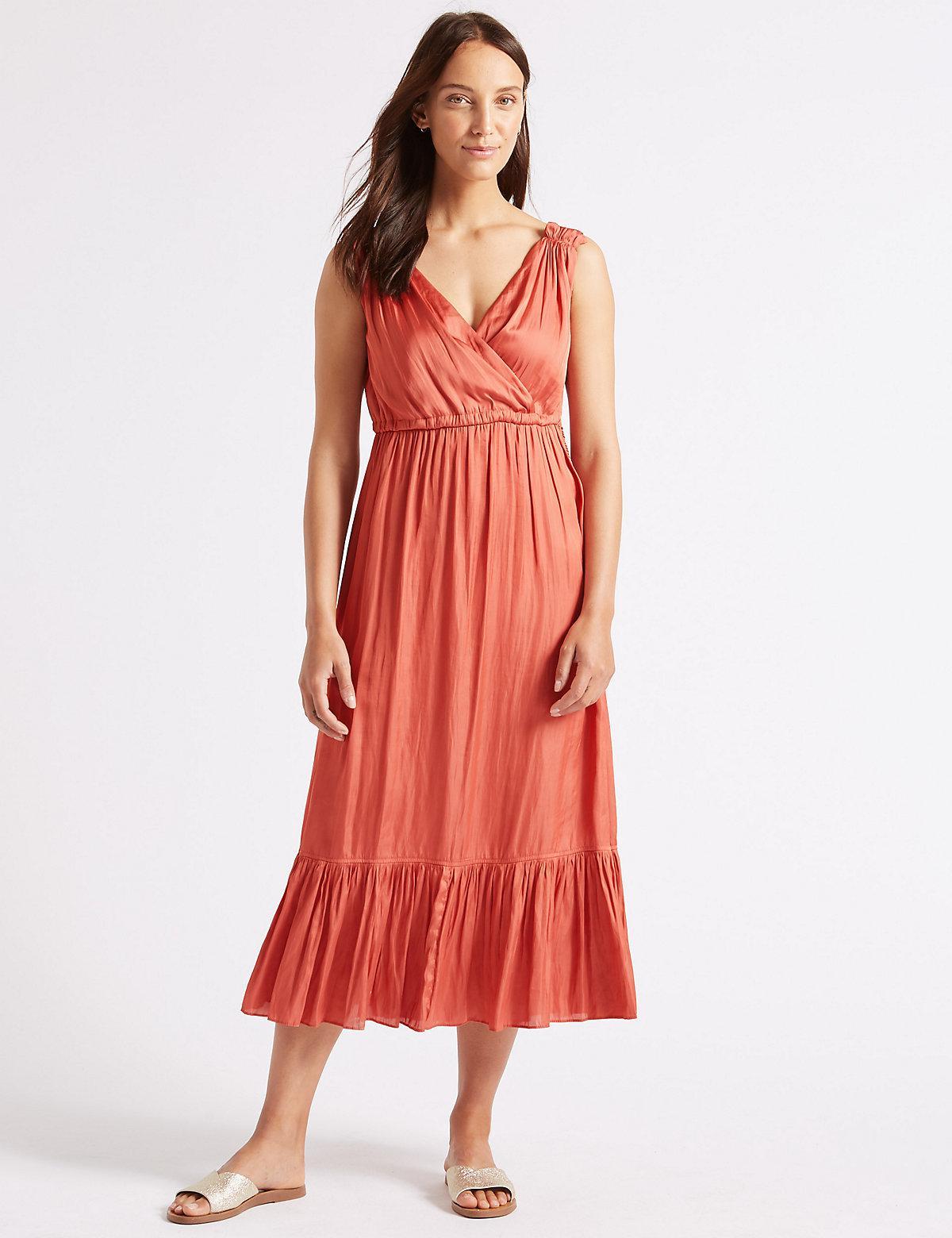 Lyst - Marks & Spencer Satin Tiered Slip Midi Dress in Orange