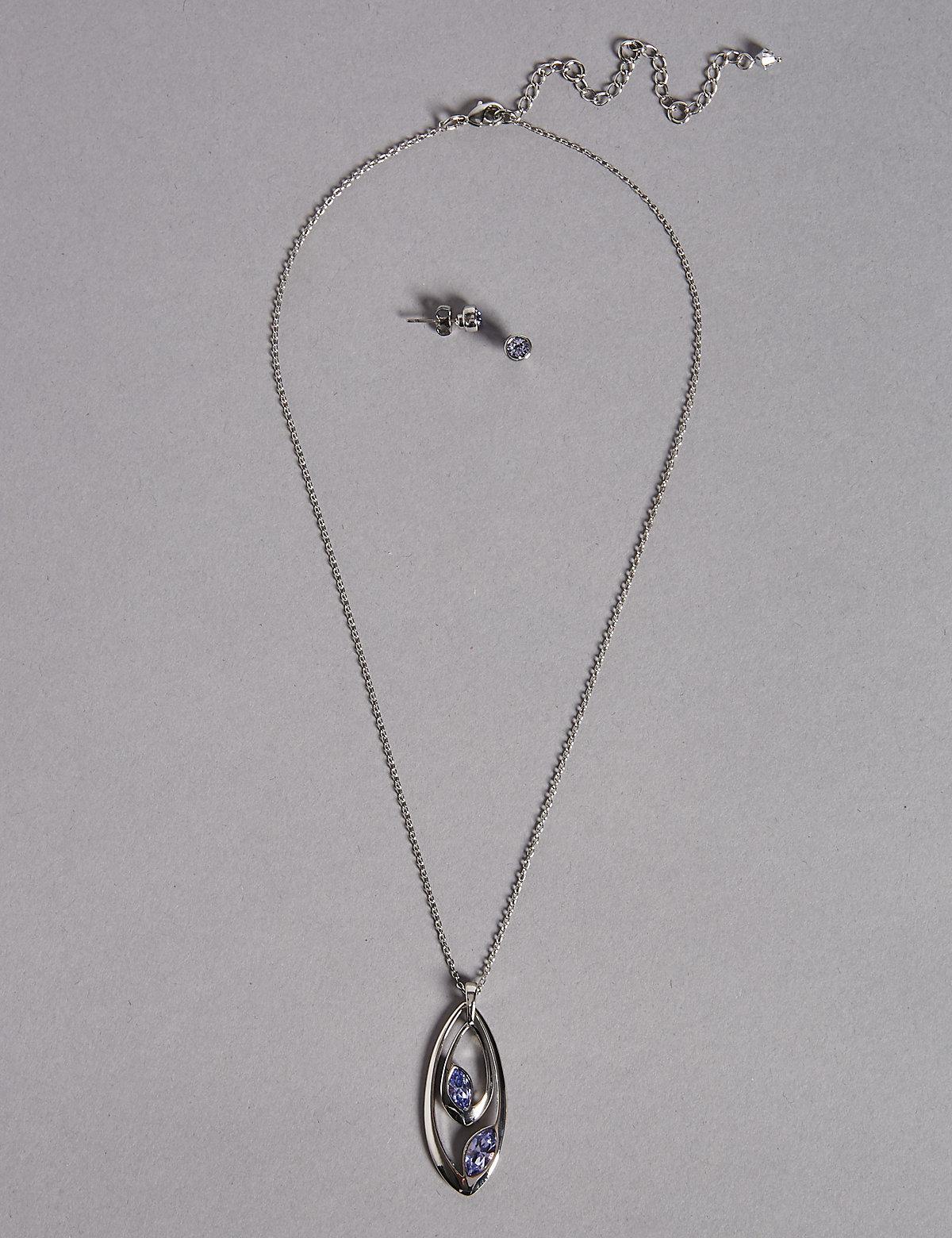 full set teardrop pendant. Marks \u0026 Spencer. Women\u0027s Double Teardrop Pendant Necklace Earrings Set Full E