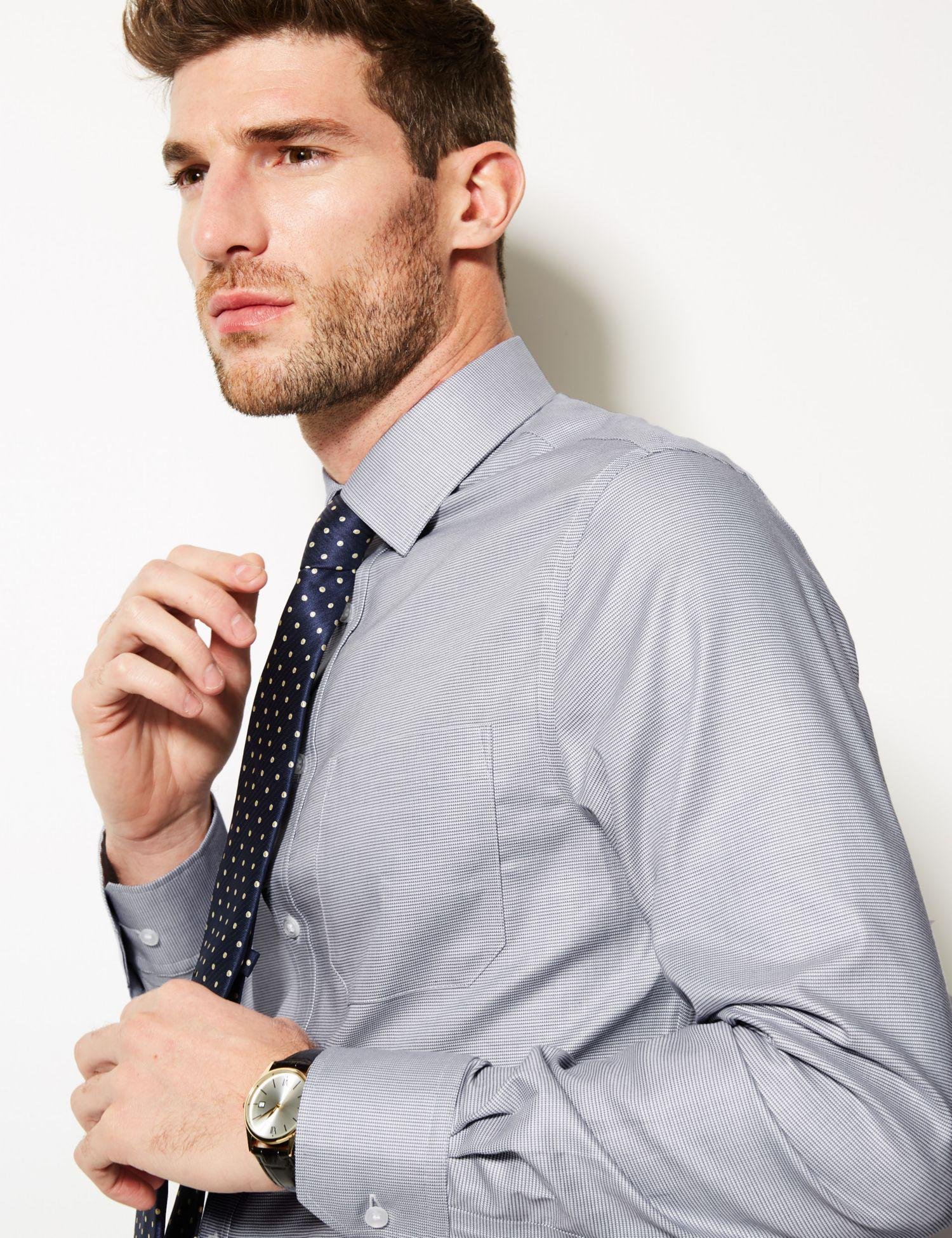 4e9018ba2f5b Marks & Spencer Pure Cotton Slim Fit Non-iron Shirt in Gray for Men - Lyst