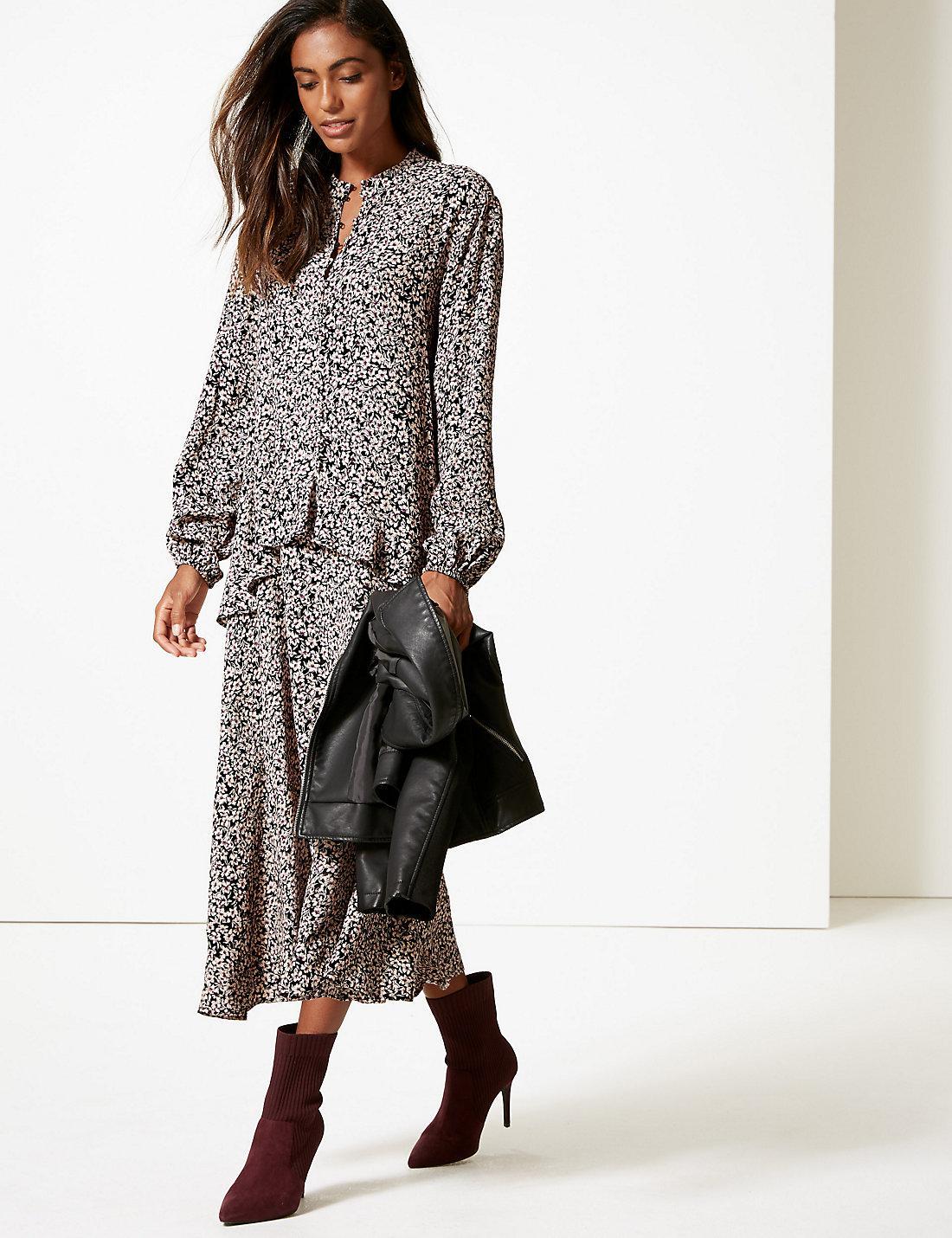 80f968dd8f Lyst - Marks & Spencer Floral Print Drop Waist Maxi Dress in Black