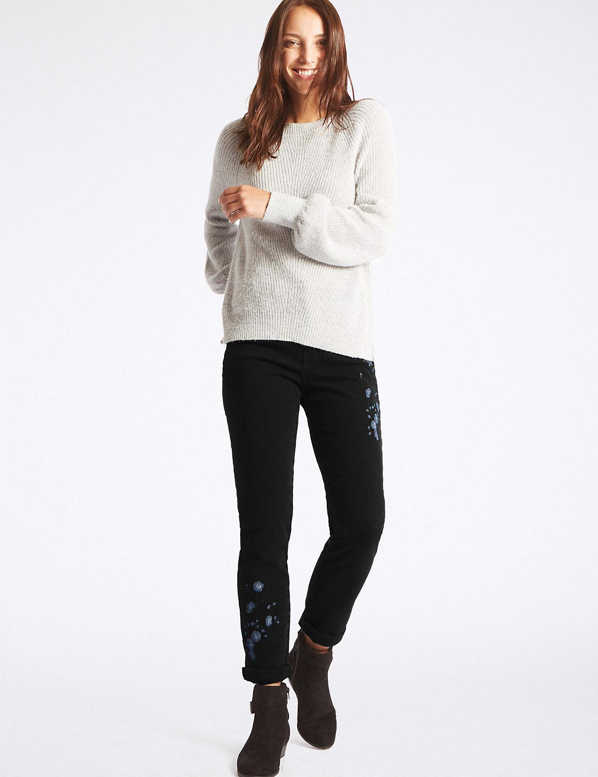 Marks spencer embroidered mid rise slim leg jeans in