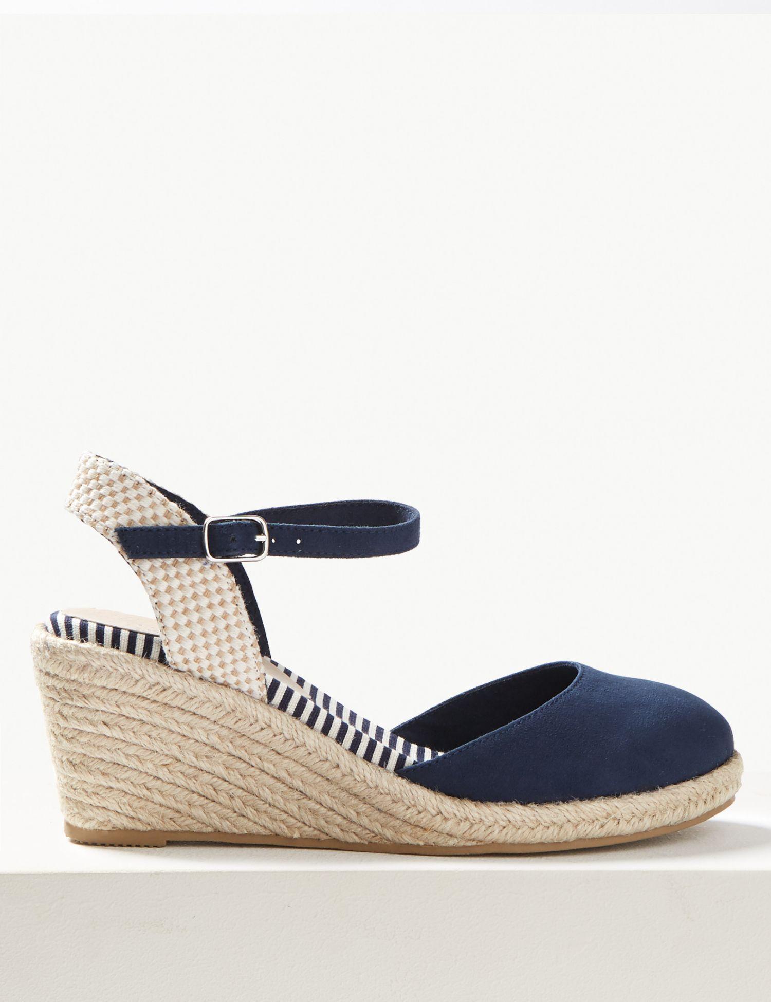 62f3eeeb68f Marks & Spencer Wedge Heel Almond Toe Espadrilles in Blue - Lyst