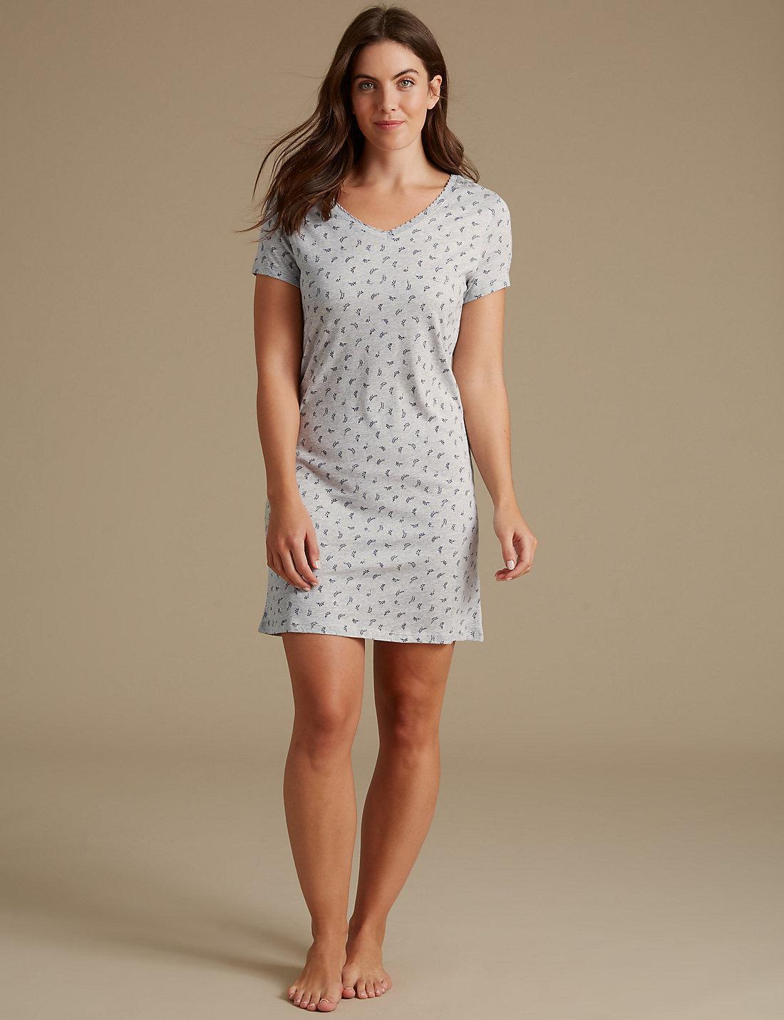 Lyst - Marks   Spencer Modal Blend Printed Nightdress in Gray 53921c3ef