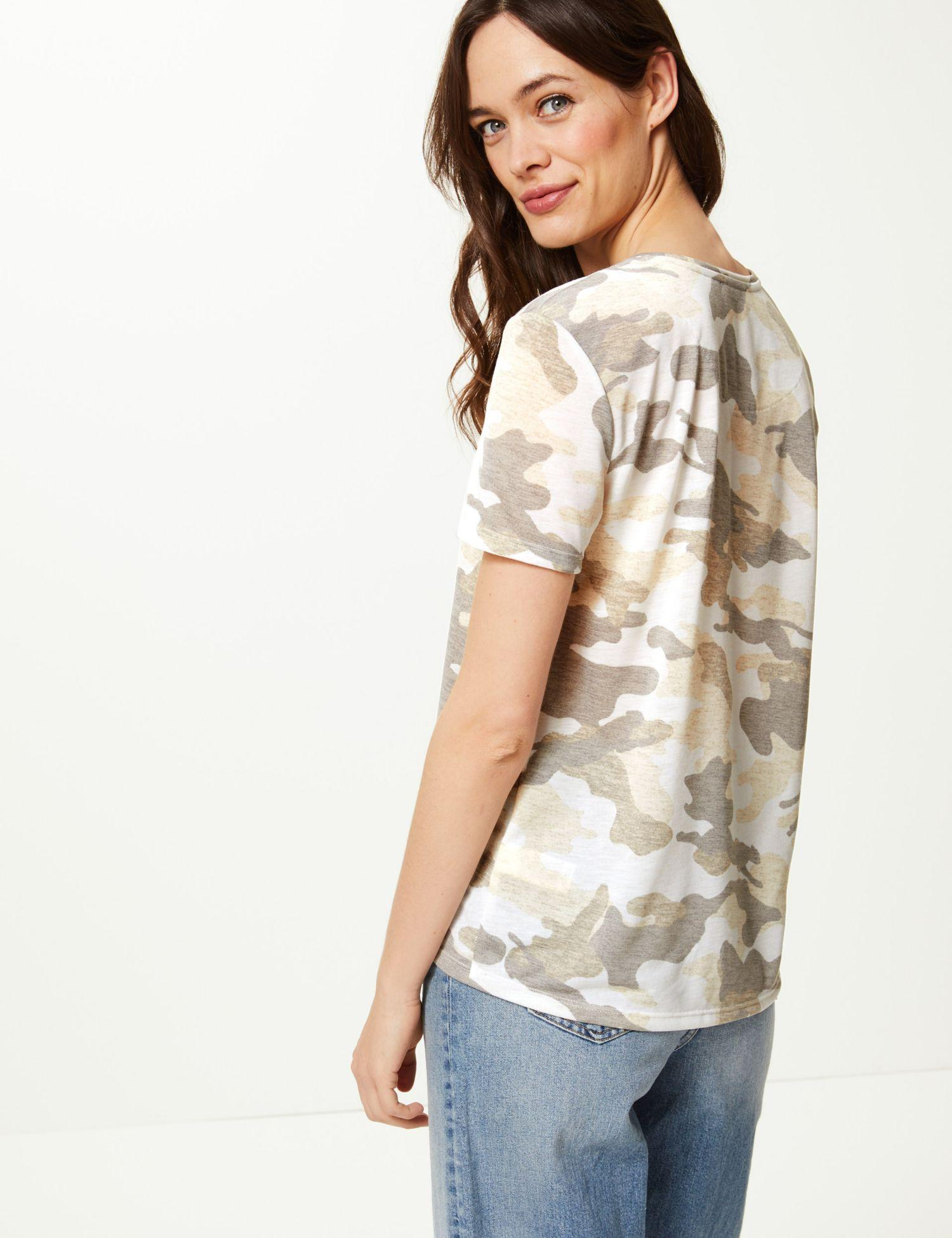 57ca714c Marks & Spencer Camouflage Print Relaxed Fit T-shirt in Natural - Lyst
