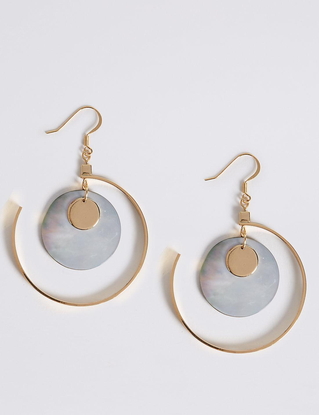 Marks and Spencer Beaded Hoop Earrings grey ABqRPZGX