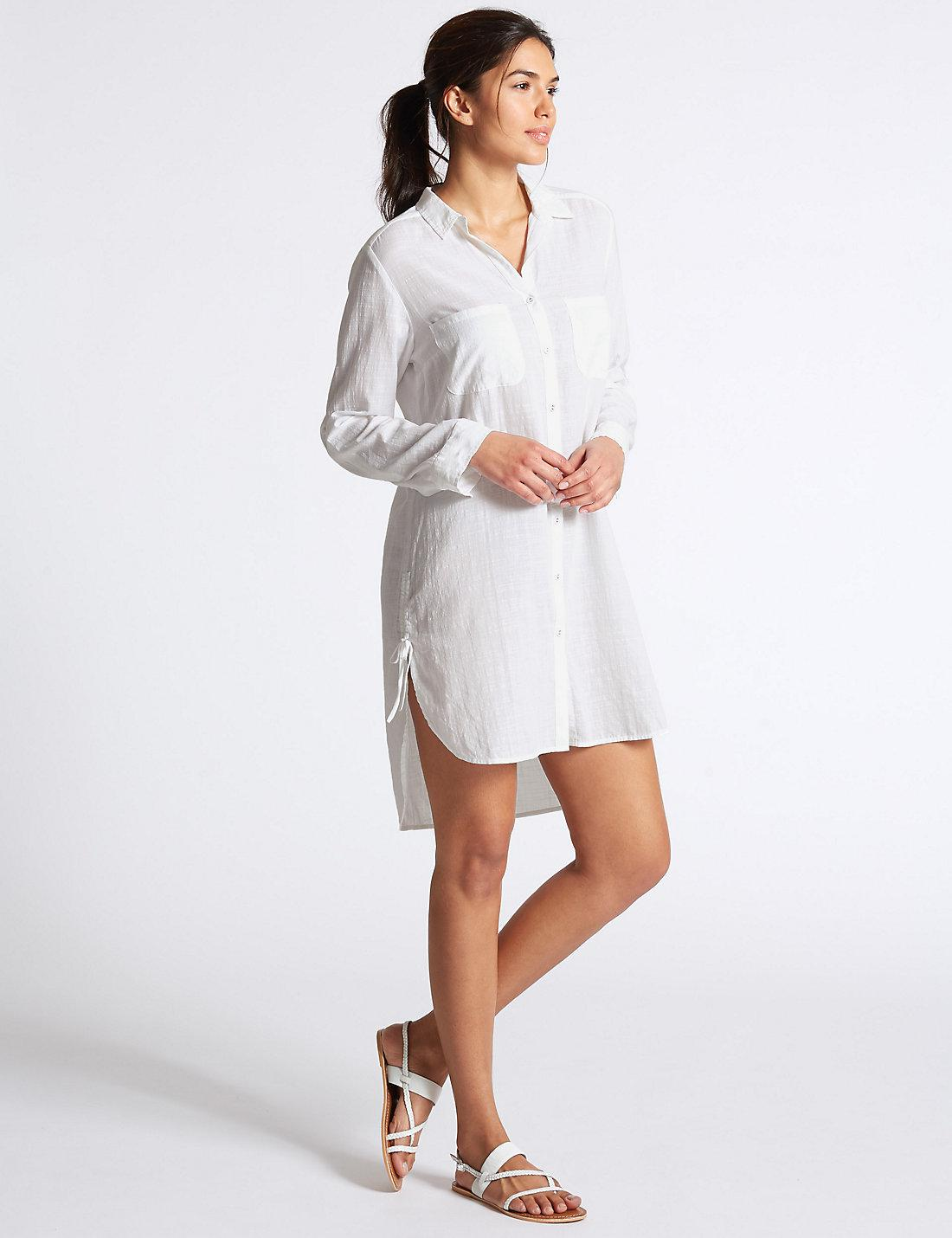 80ee9588f6c Lyst - Marks   Spencer Pure Cotton Dipped Hem Beach Dress in White