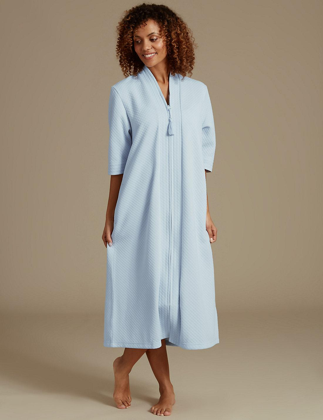 Lyst - Marks   Spencer Quilted Zip Through Dressing Gown in Blue e76e8461c