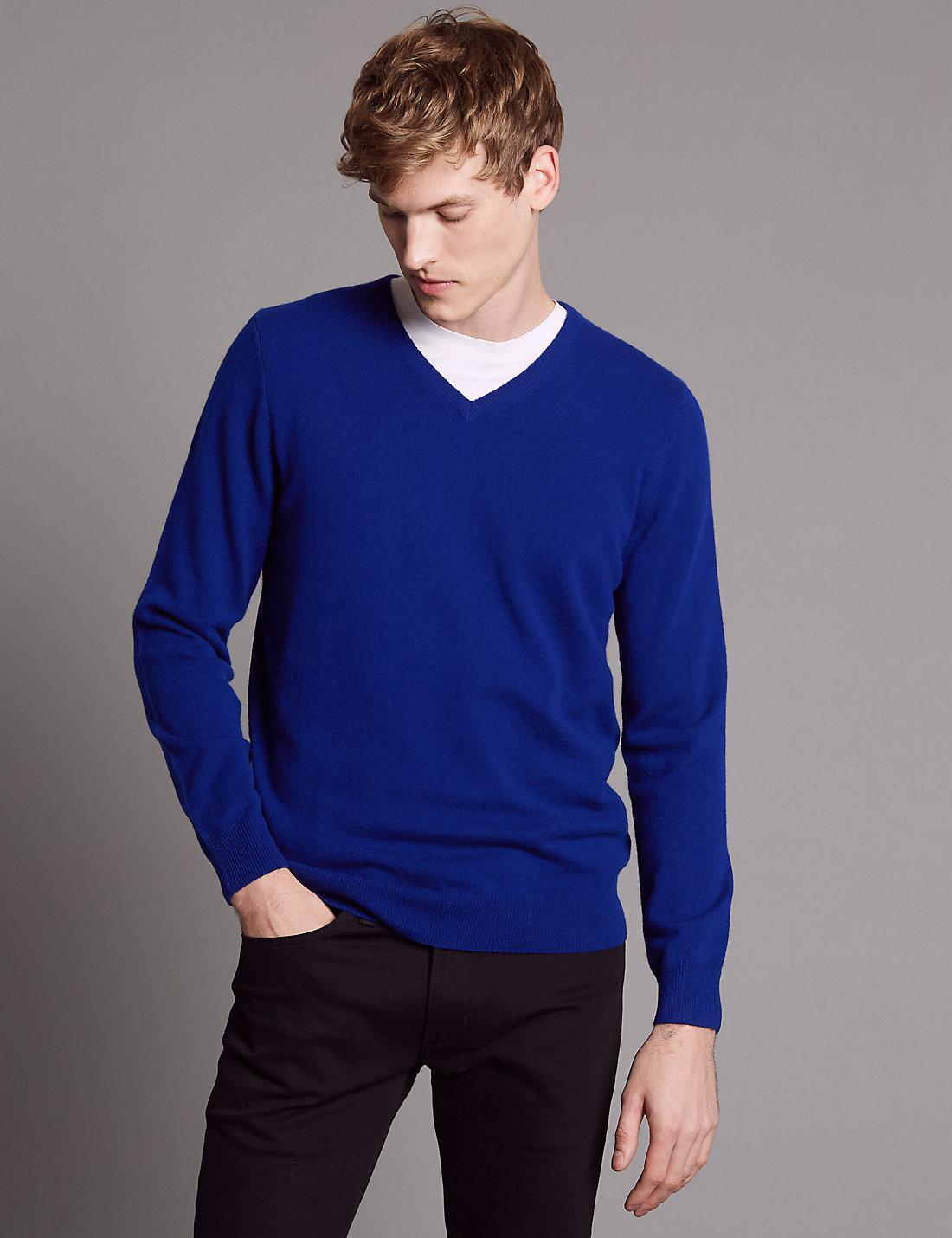 Lyst - Marks   Spencer Pure Cashmere V-neck Jumper in Blue for Men 792e9937b