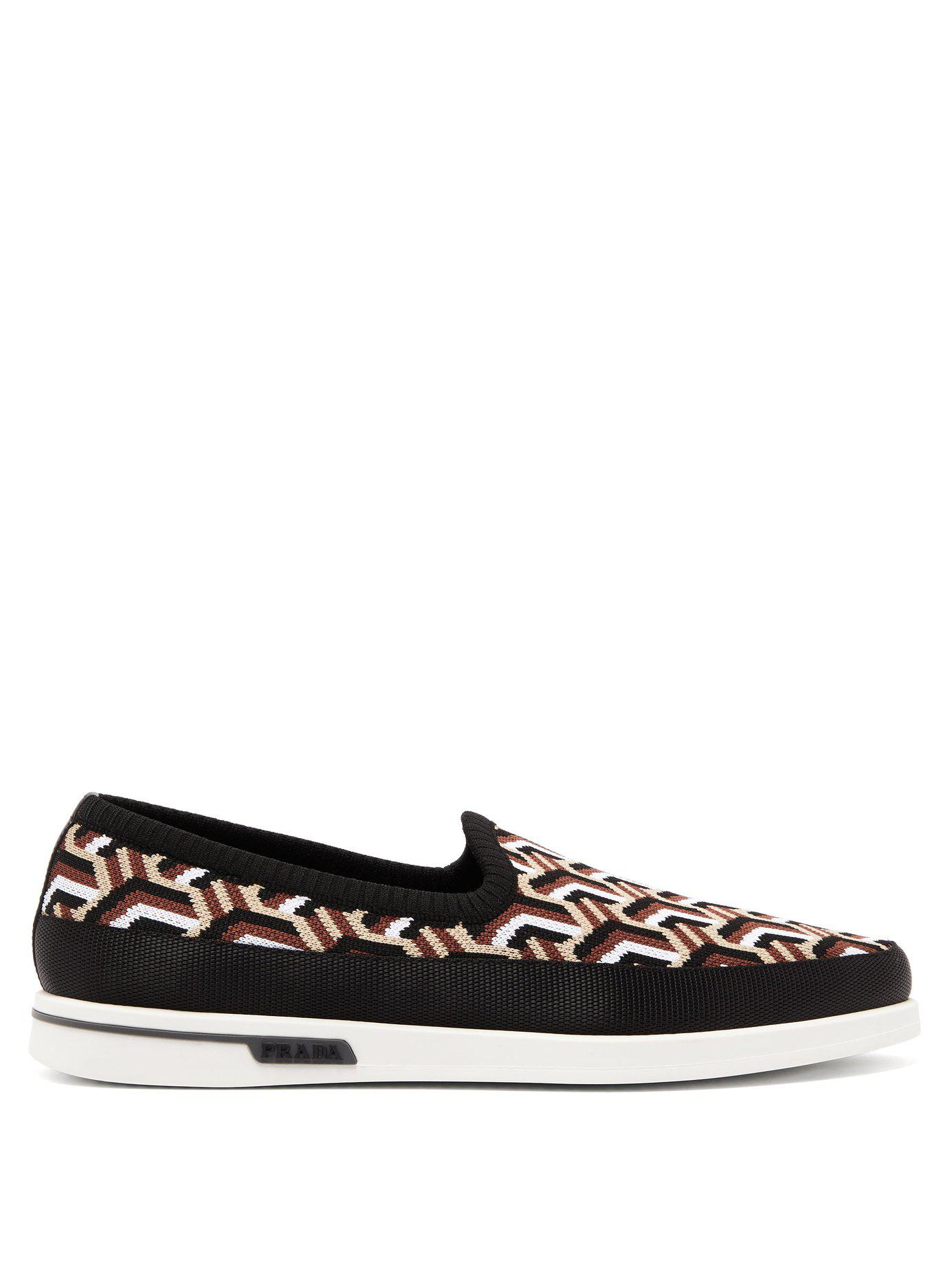 b4ff6769334 Lyst - Prada St Tropez Jacquard Knitted Loafers in Black for Men