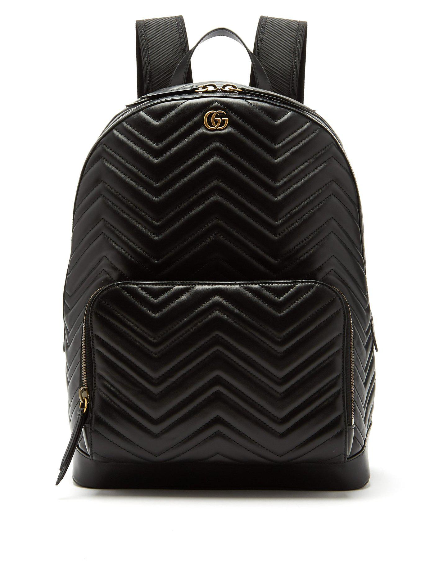 64056437cc53 Lyst - Gucci Marmont Leather Backpack in Black for Men