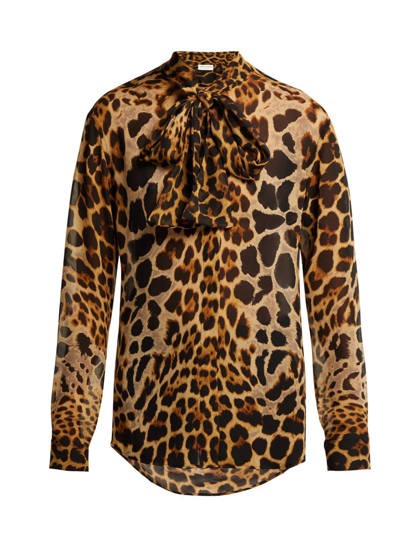 b95963c00d68a0 Saint Laurent. Women s Leopard Print Silk Georgette Blouse